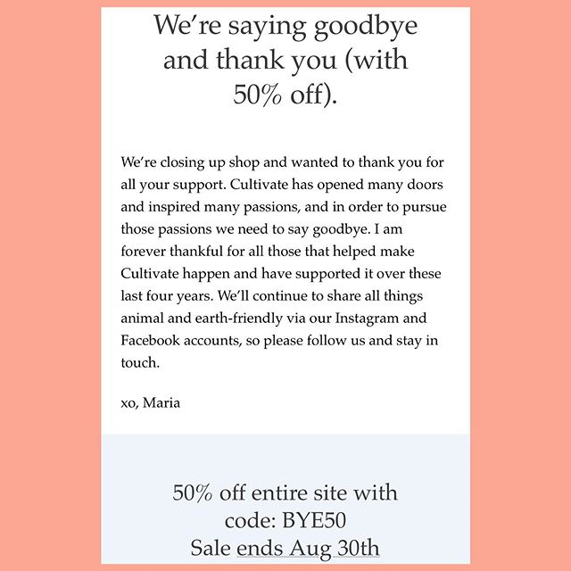 So that's happening...Hi it's Maria, it's been a wonderful journey and Cultivate has taught me so much, which has redirected my purpose. I'm so appreciative and excited to share some more personal stuff in the future. Hang tight and, in the mean time, gets to shopping! #bye50 #50waystoyay . #cultivate.la #sale #switchinggears #happy #love #ecofriendly #vegan #veganproducts #compassion #shop #sale #newadventures #newbeginnings #cultivate #thankyou