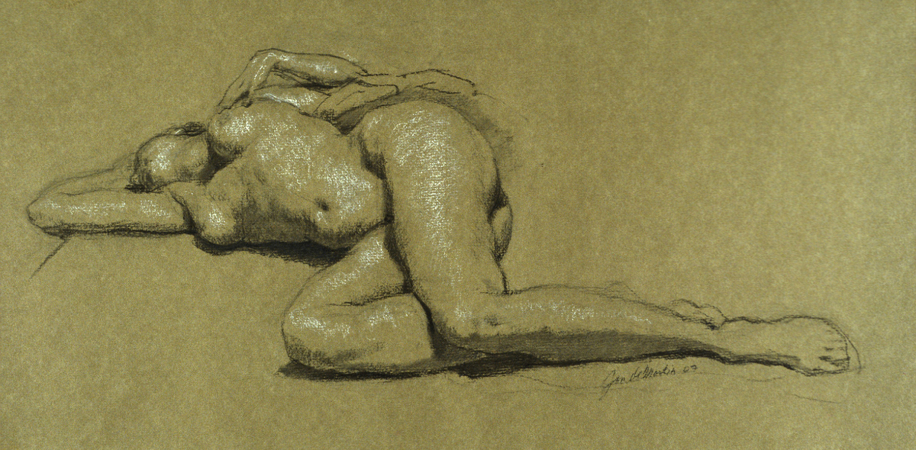 "Helen reclining  2007 Black & White Chalk  9""x18.5"""