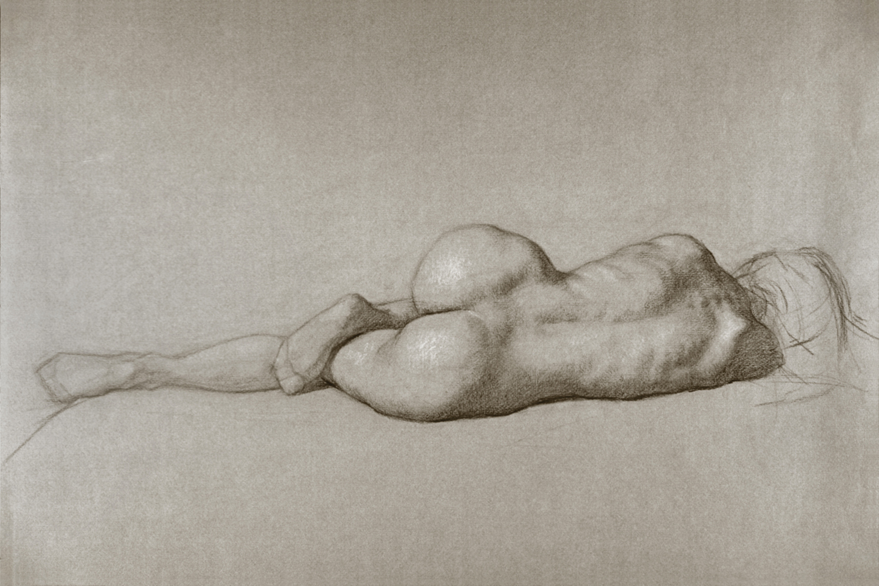 "Julie Reclining-Back View  2012 Black & White Chalk  24""x18"""