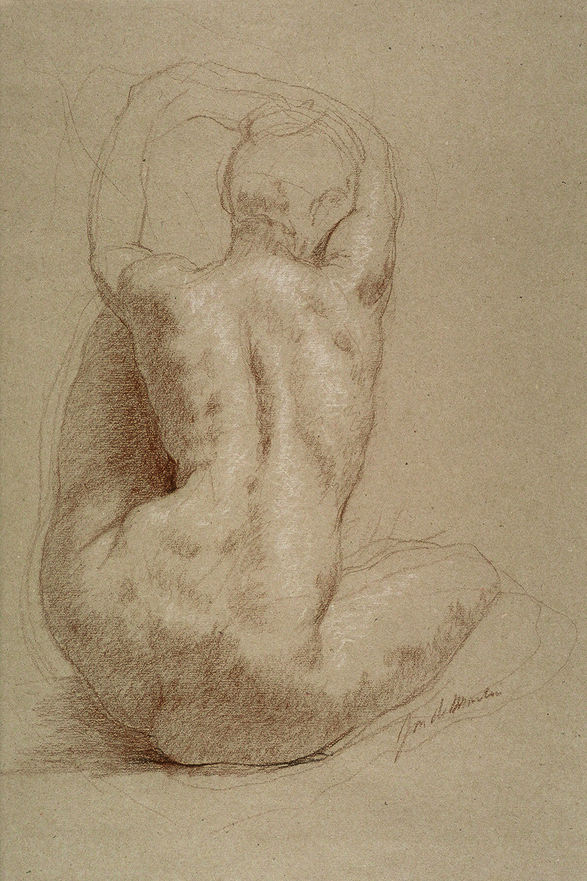 "Helen Seated-back view  2007 Black & White Chalk  24""x18"""