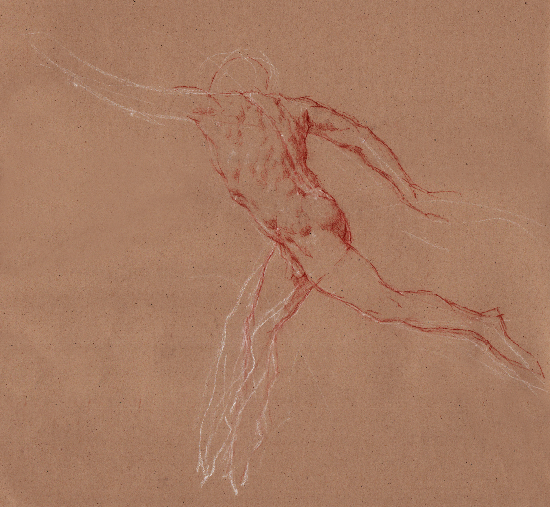 "Running Athlete  2014 Red & White Chalk  17""x18"""