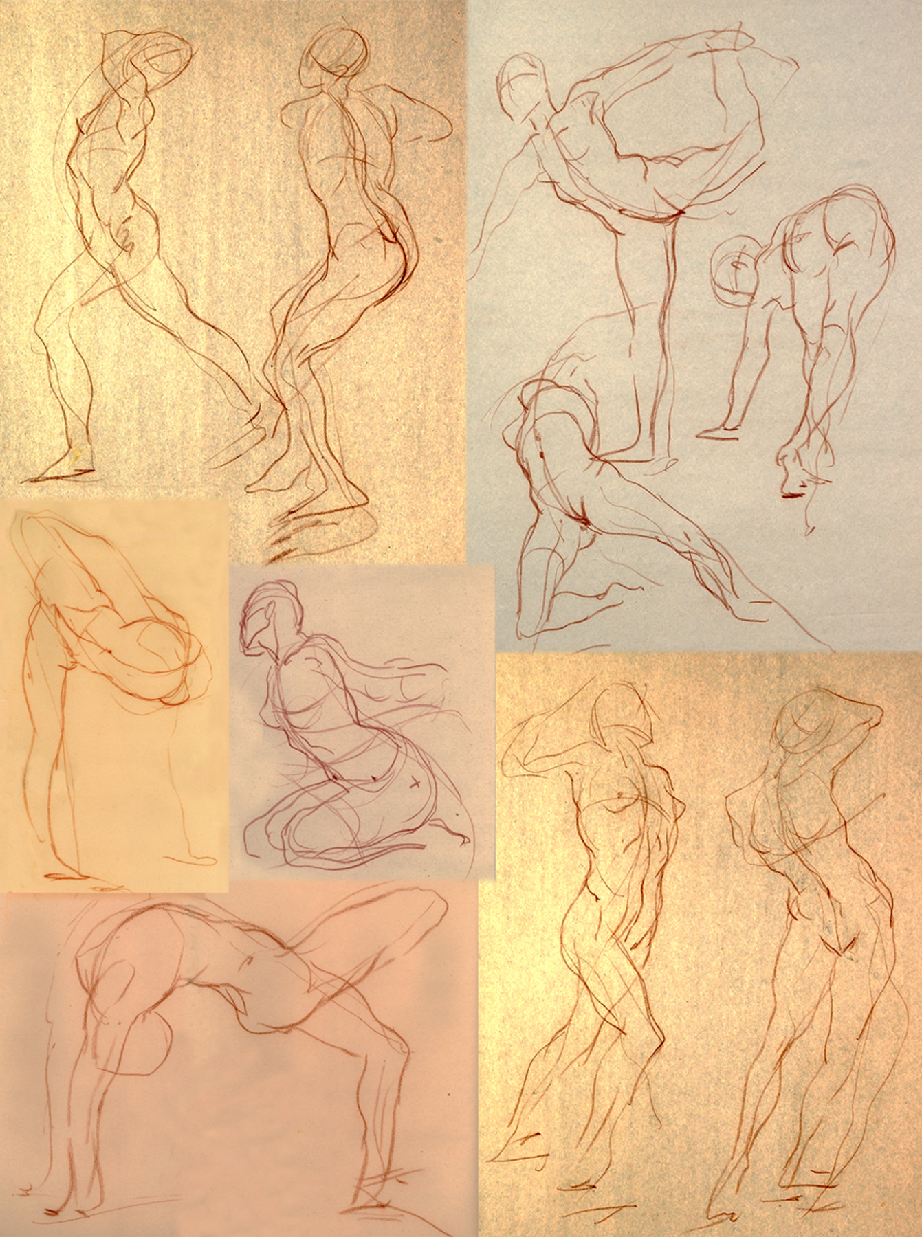 "Short Pose Compilation  1980's-90's Red Chalk on Newsprint 18""x24"""