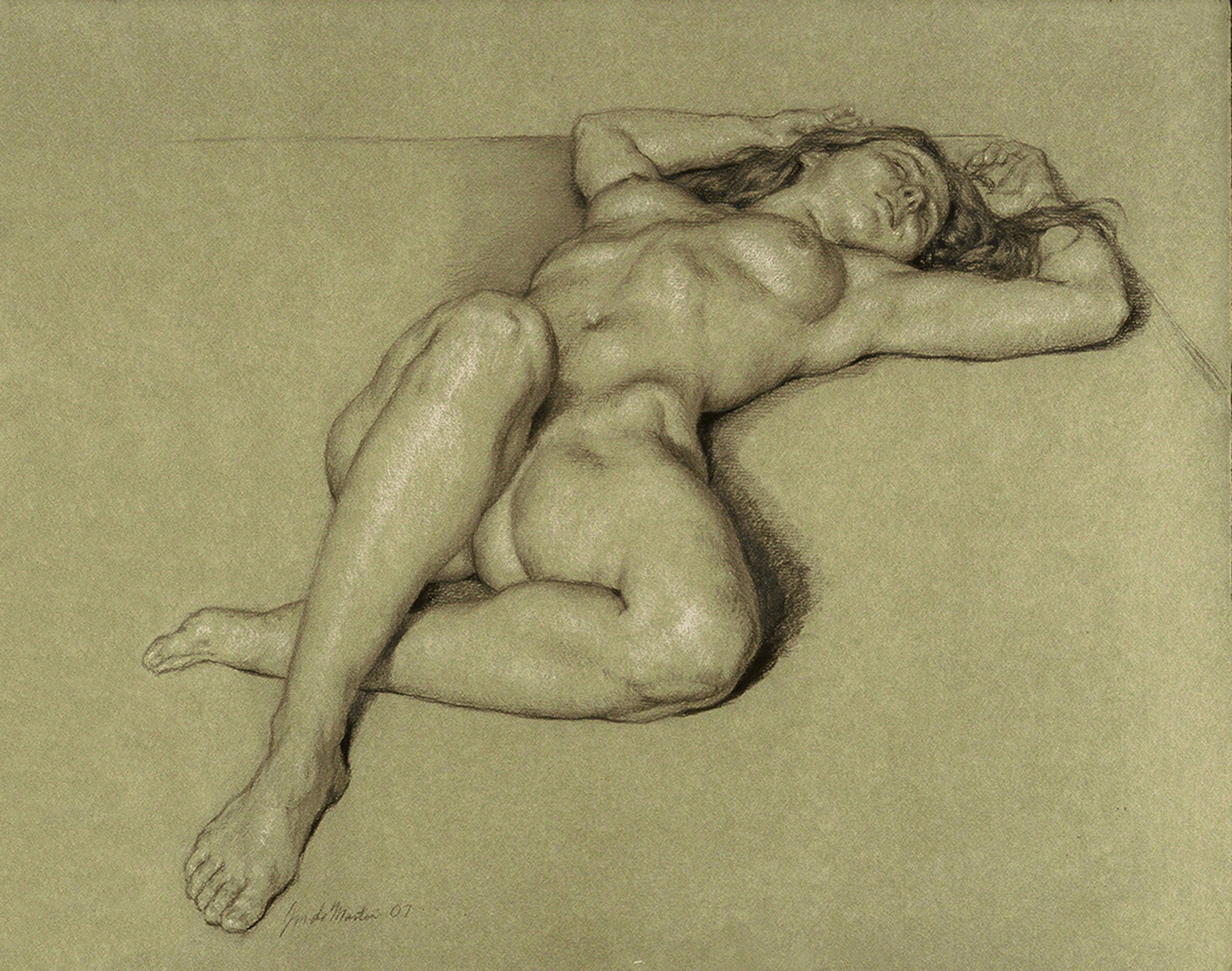 "Julie Reclining  2007 Black & White Chalk  16""x20"""
