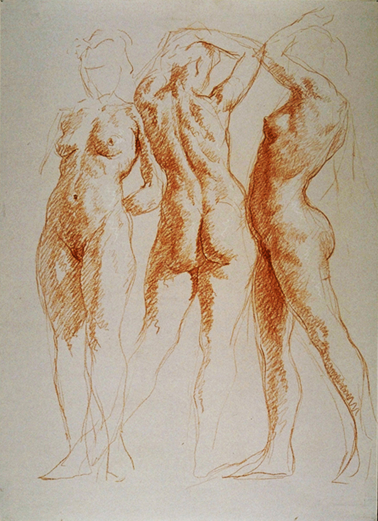 "The Three Graces  2002 Red & White Chalk  26""x19"""