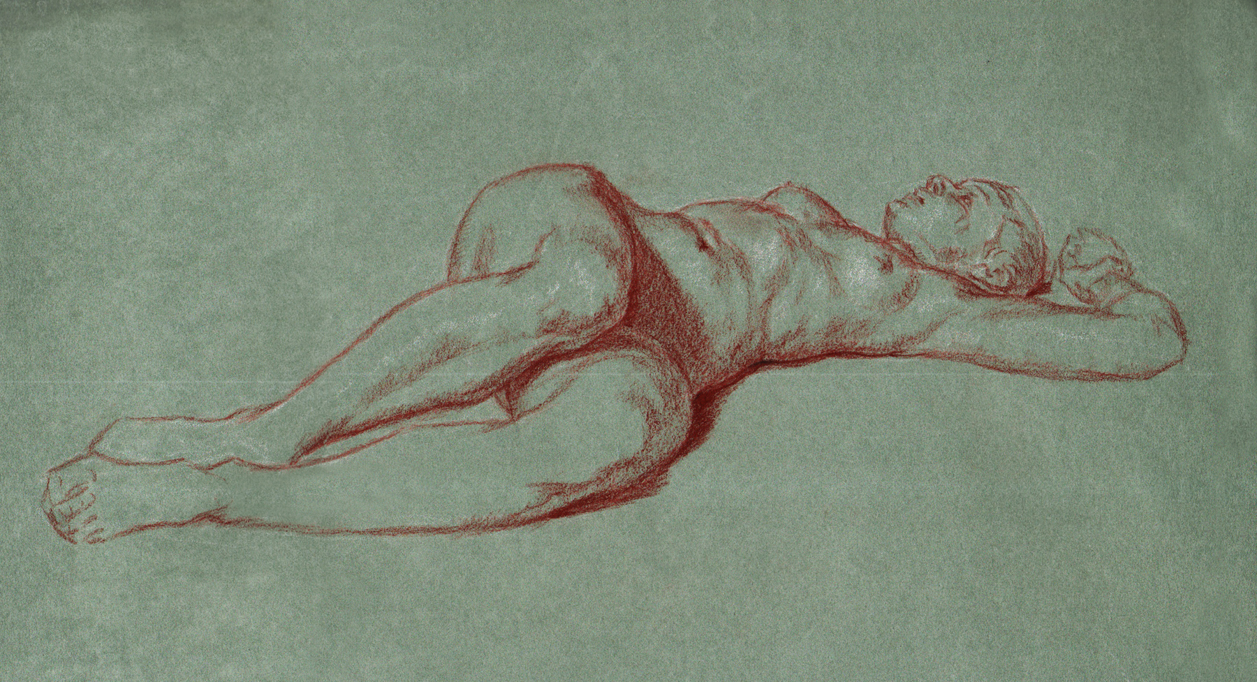 "Stephanie Reclining  2015 Red & White Chalk  9""x13"""