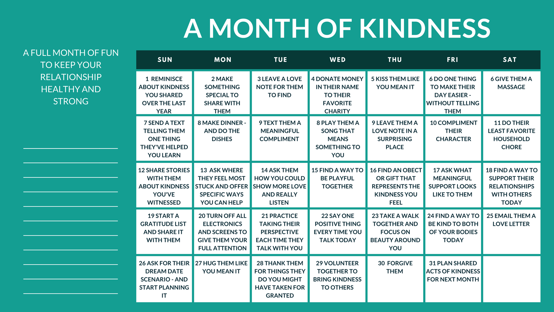 couples kindness calendar | calendar for relationship
