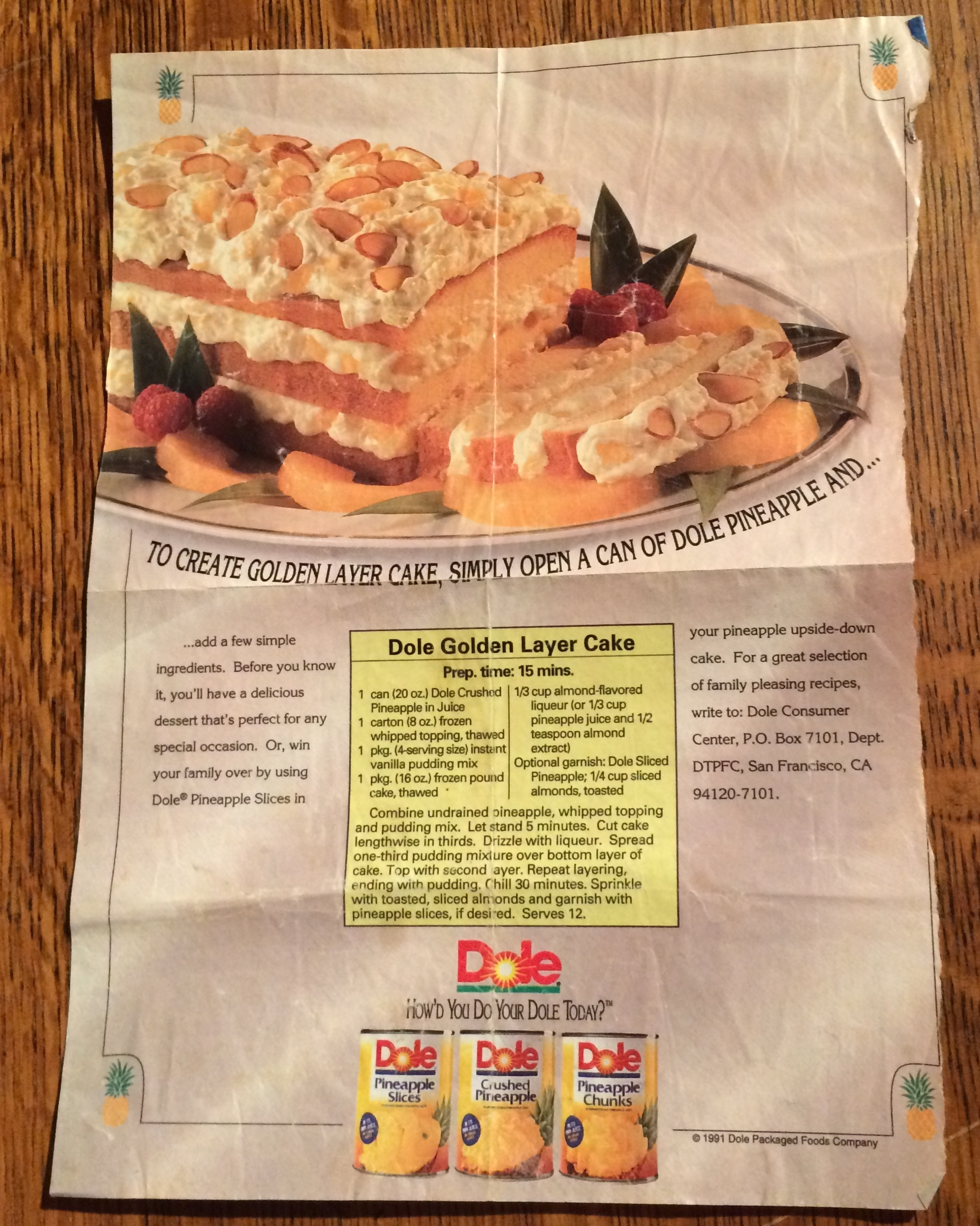 Photo of original advertisement torn from a 1991 magazine. A simple and delicious dessert!