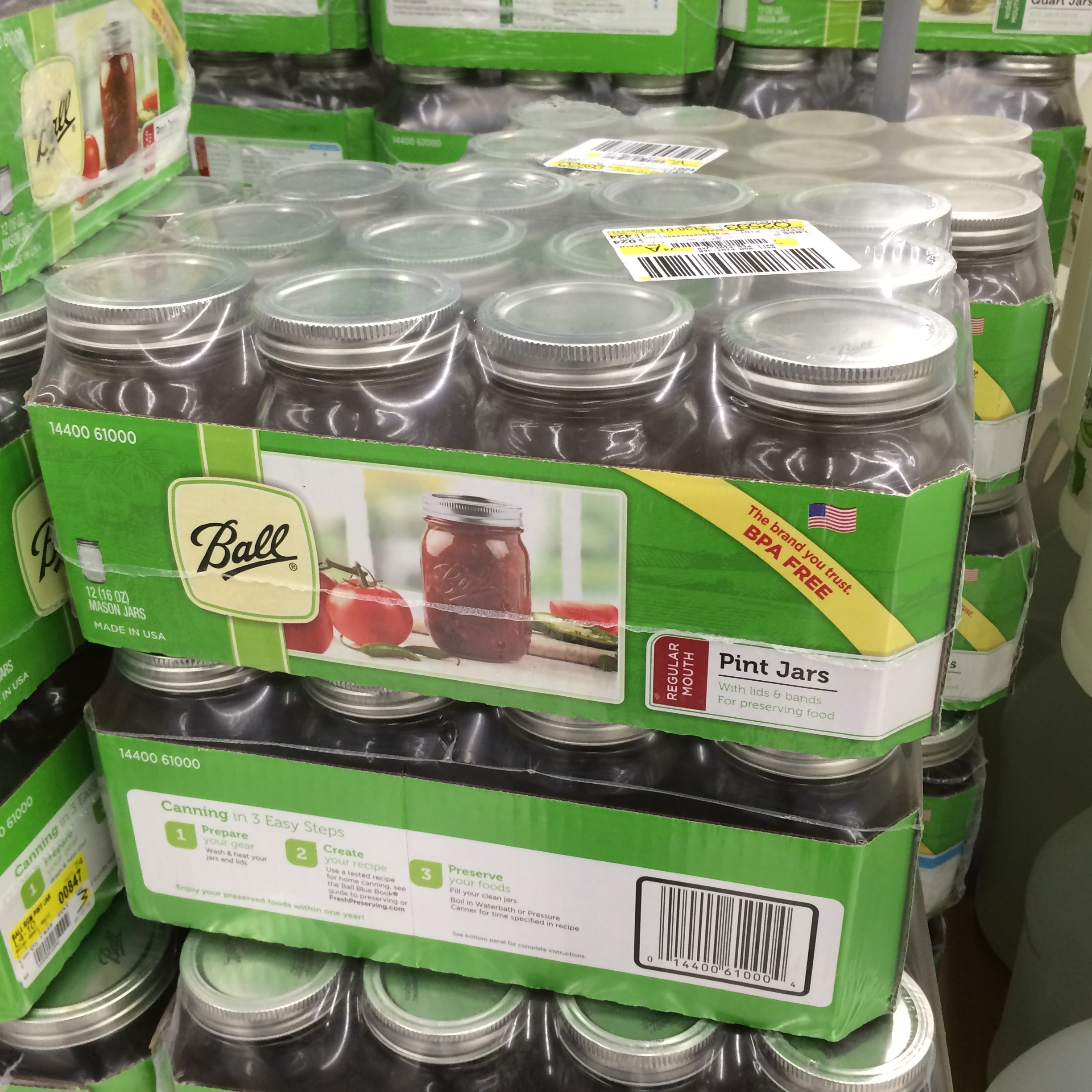 Pint mason jars by Ball…seen at Wal-Mart yesterday! They make amazing glasses for cold beverages.
