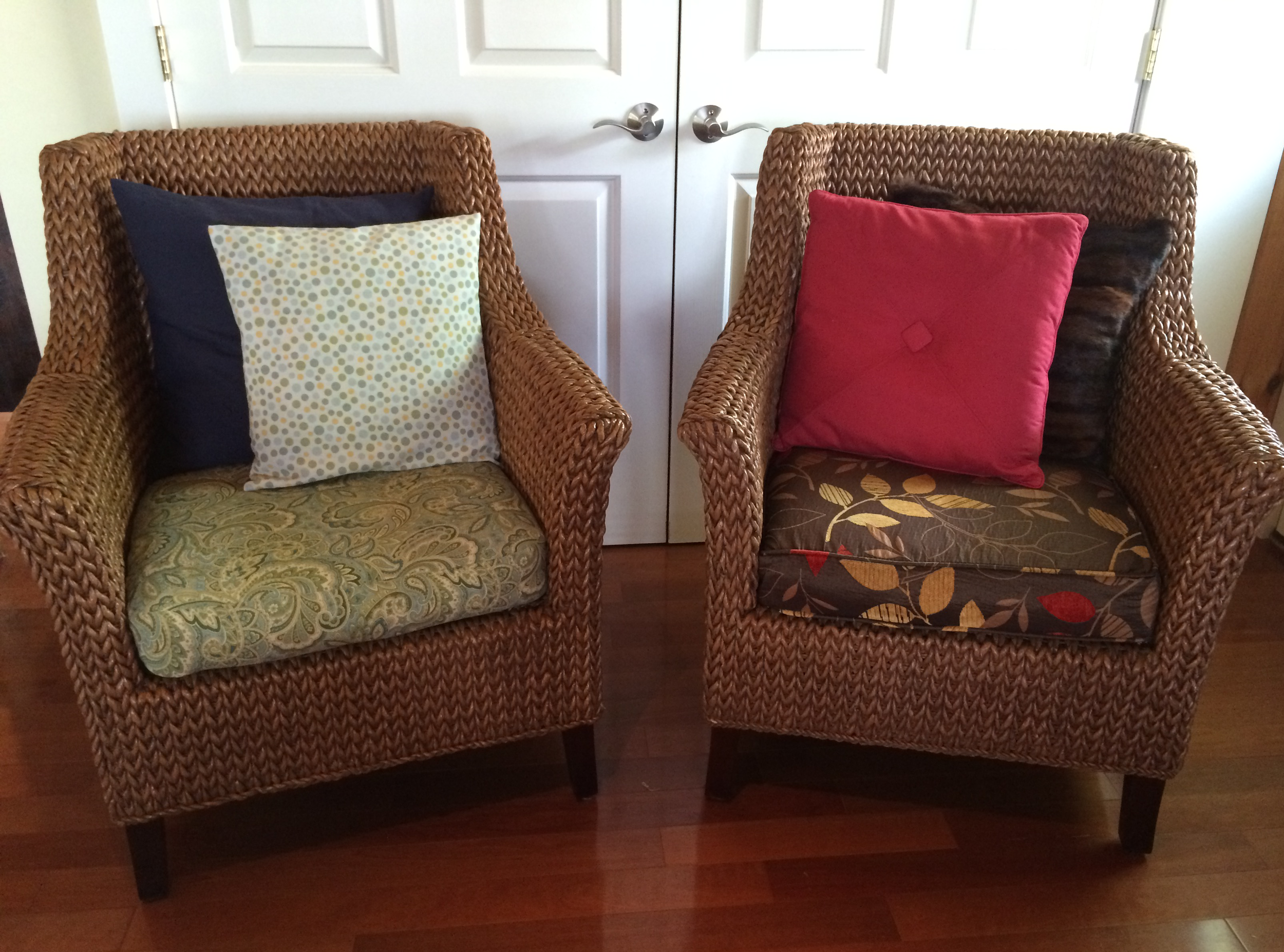 Same chairs different color palettes! Spring/summer on the left with fall/winter on the right.