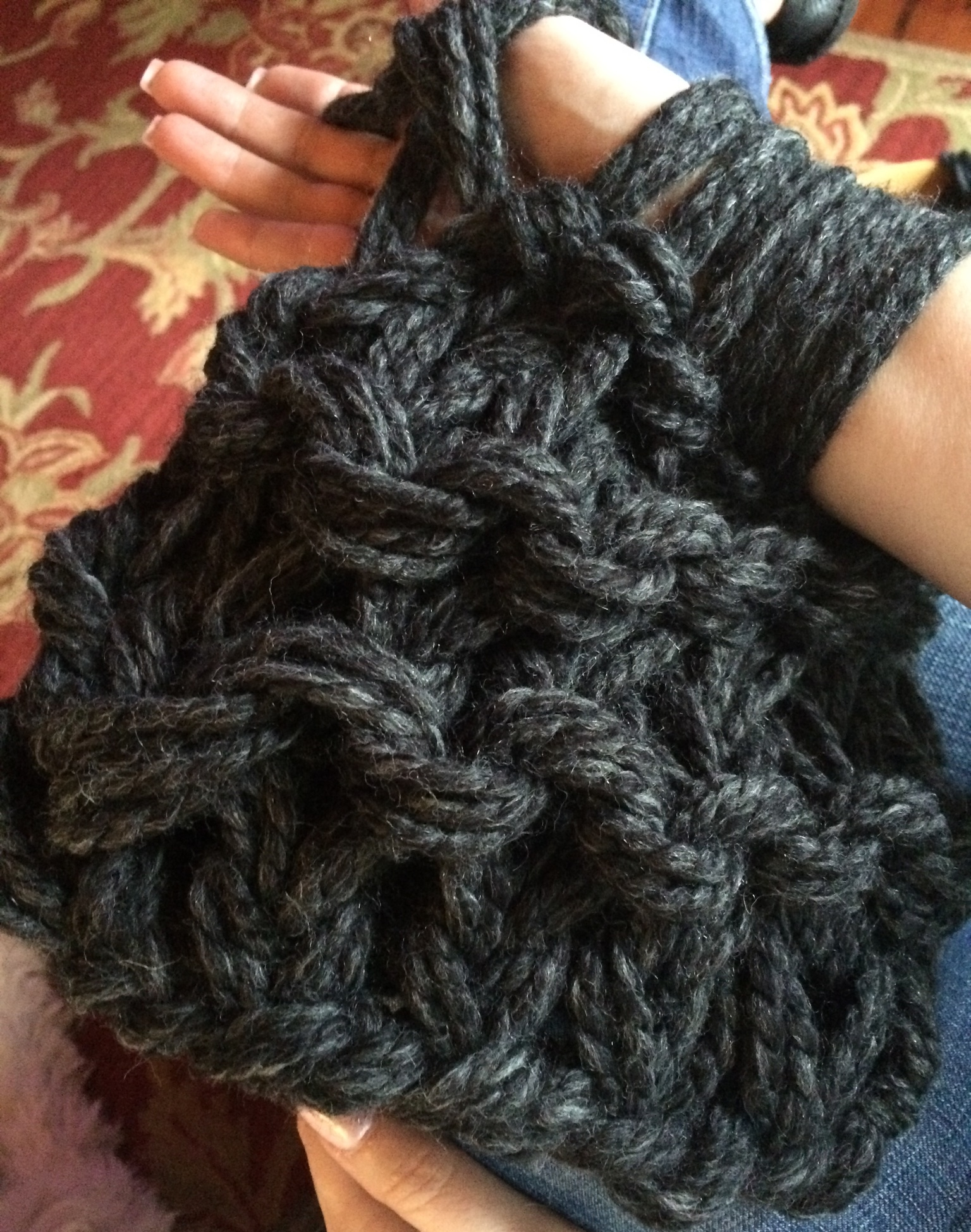 Many beautiful shades of charcoal in this yarn.