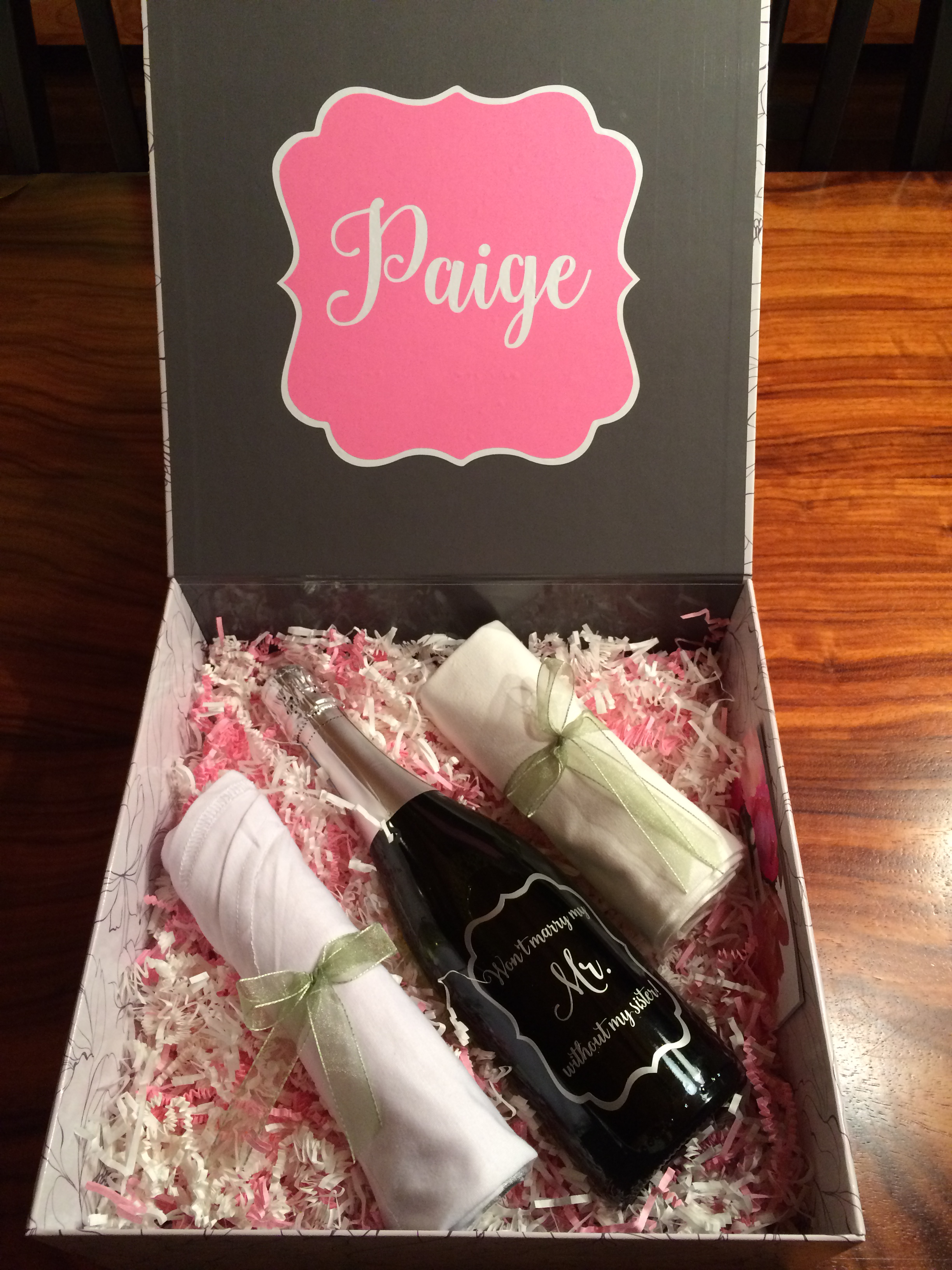Personalized wine bottle and gift box, ready to go!