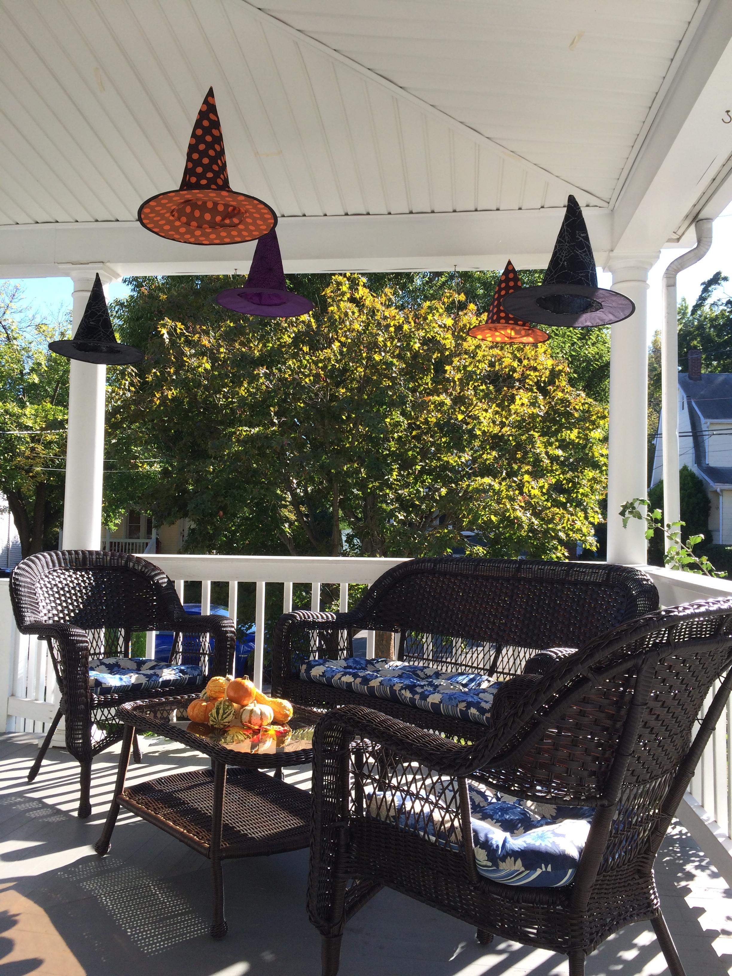 Maybe I'll attract some friendly witches to my porch seating area! The different color and pattern hats are so fun.