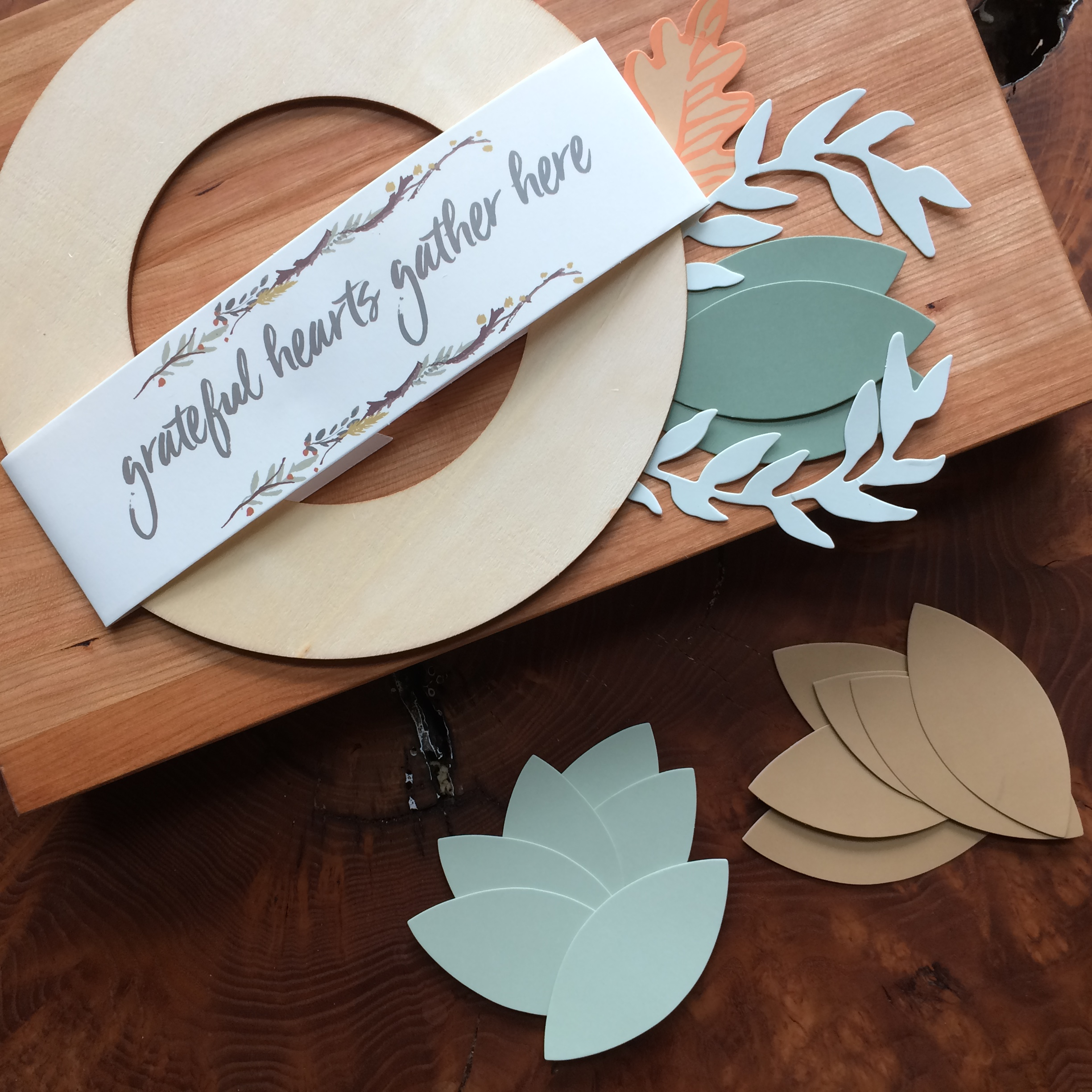 The 'giving thanks wreath'to be assembled with our guests on Thanksgiving day!