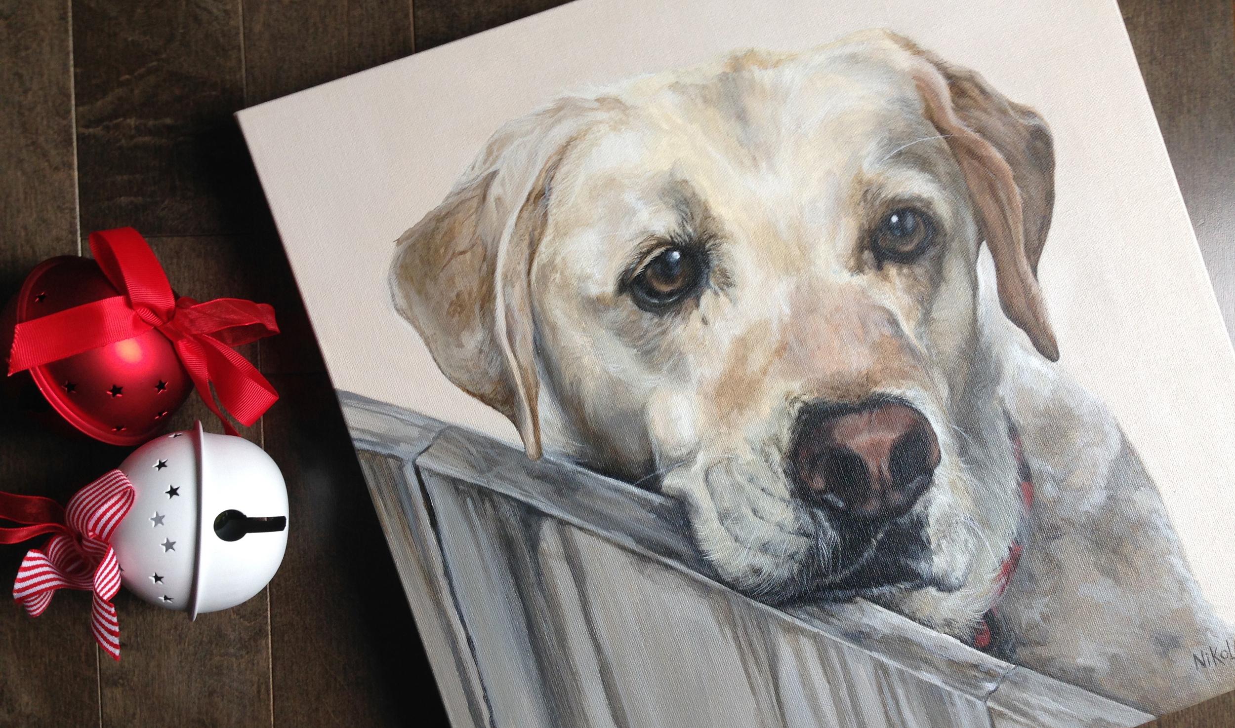 Yellow Labrador portrait painting.