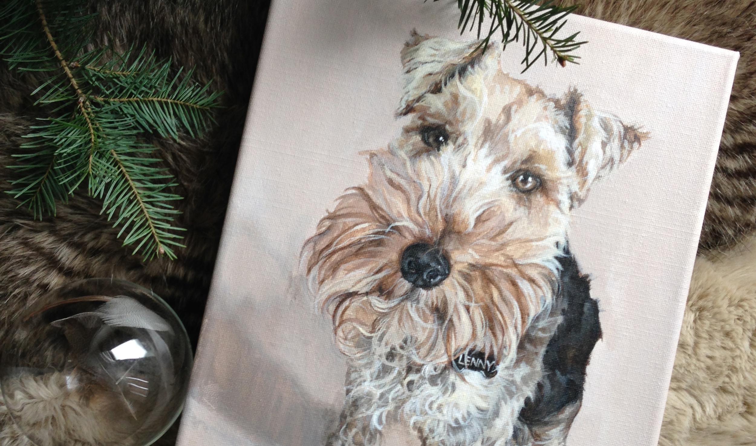 Welsh Terrier portrait painting.