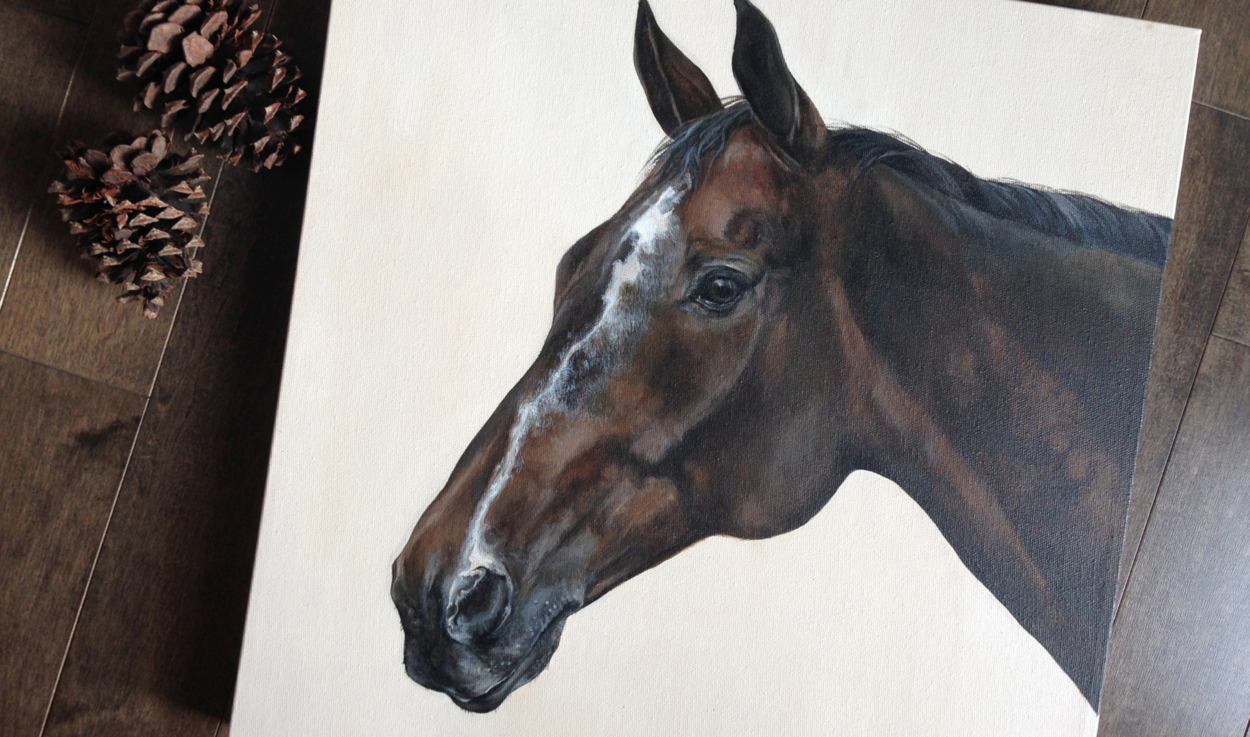 Thoroughbred portrait painting,
