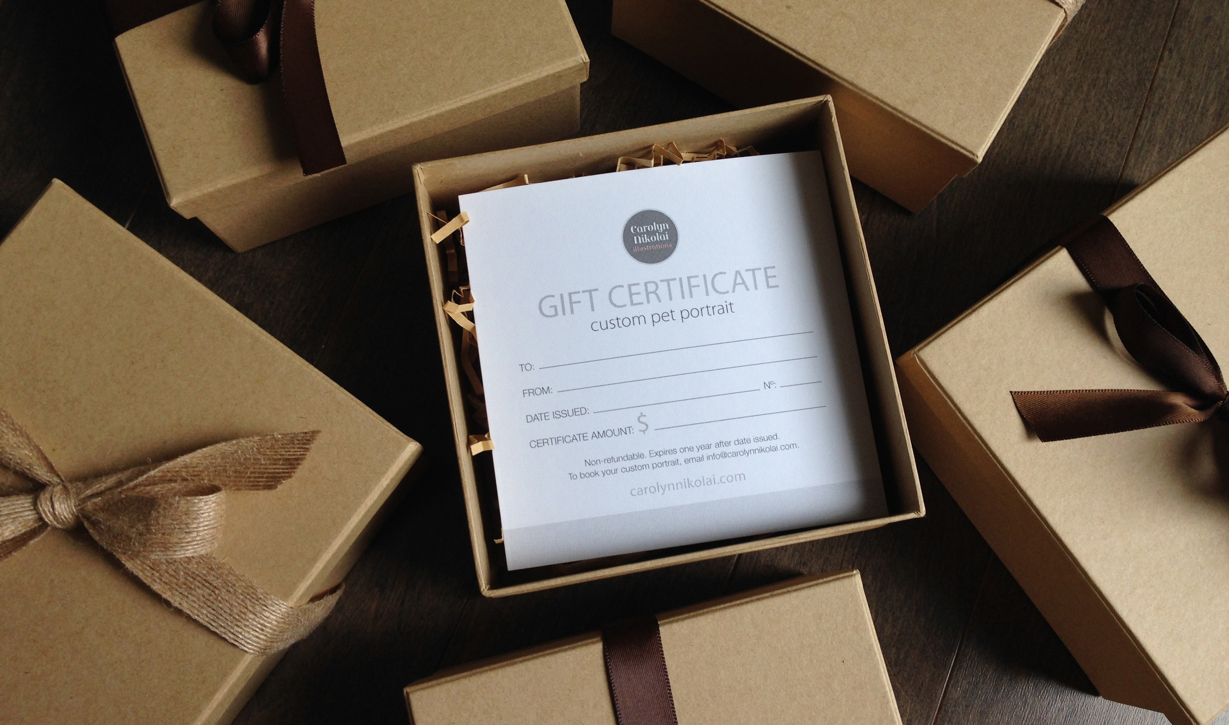 Gift certificate boxes.