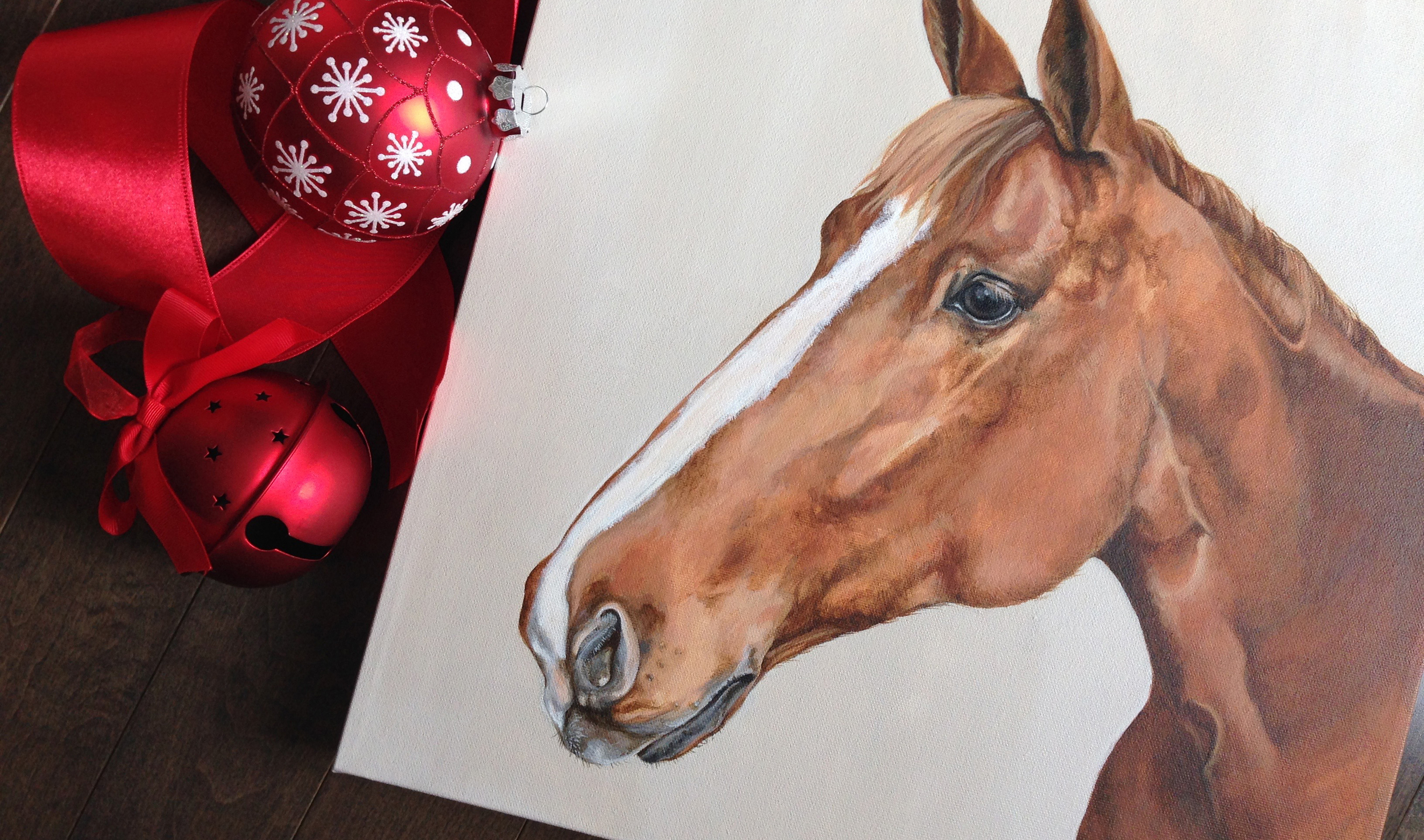Chestnut horse portrait painting.