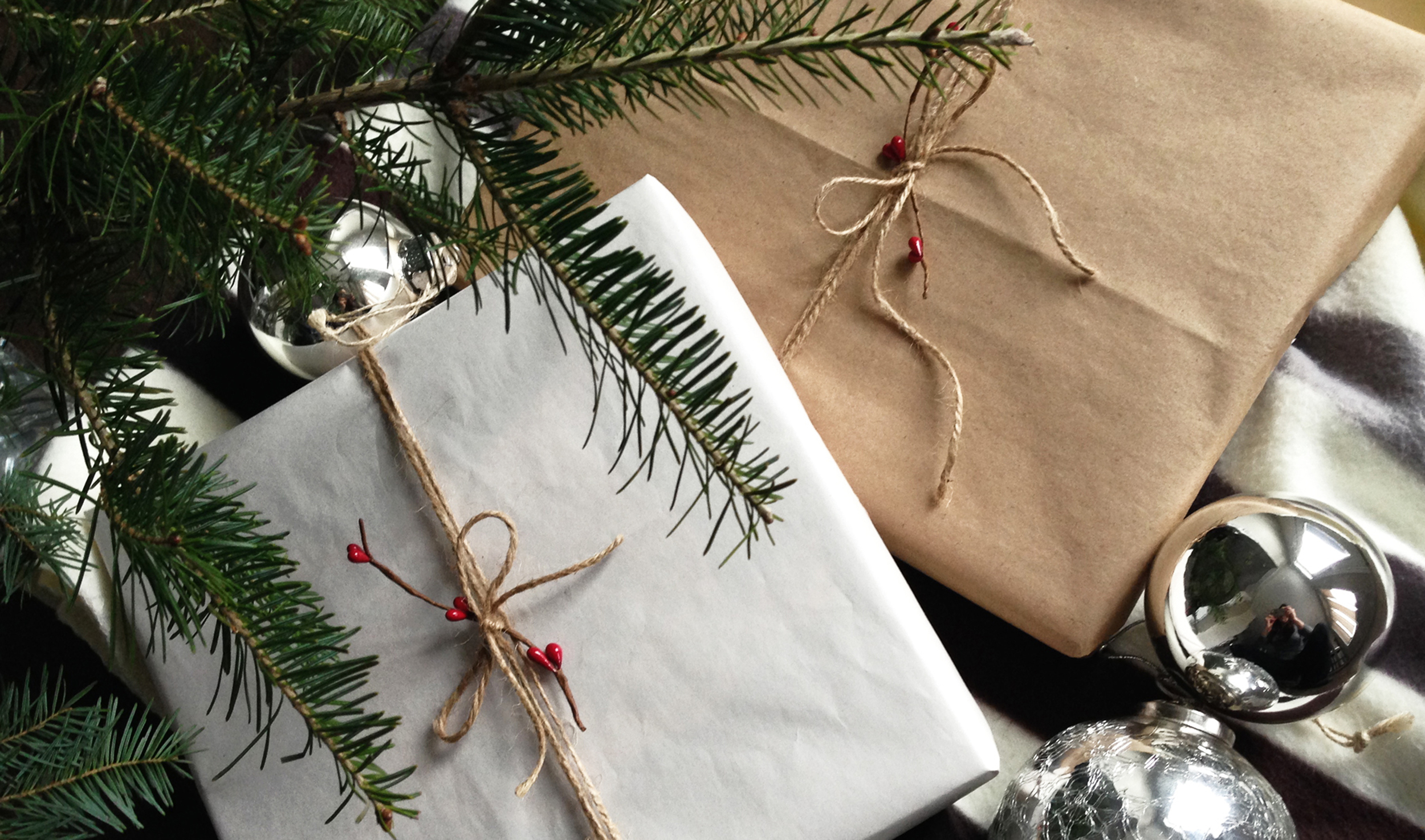 Gift wrapped Christmas portraits.