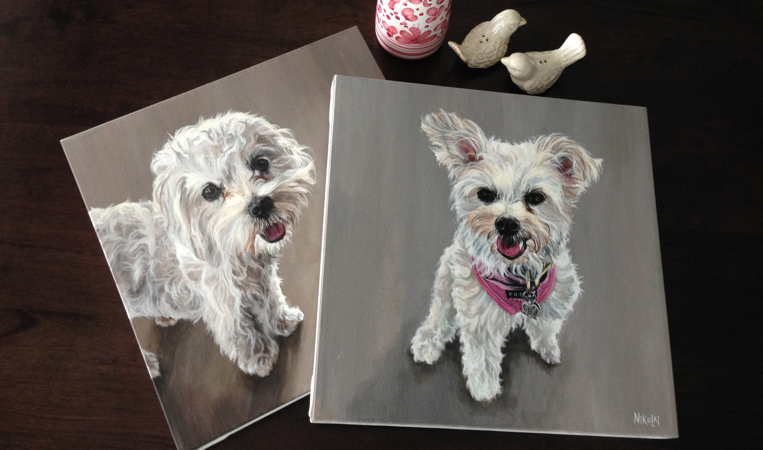 Lhasapoo and Pomachon portrait paintings,