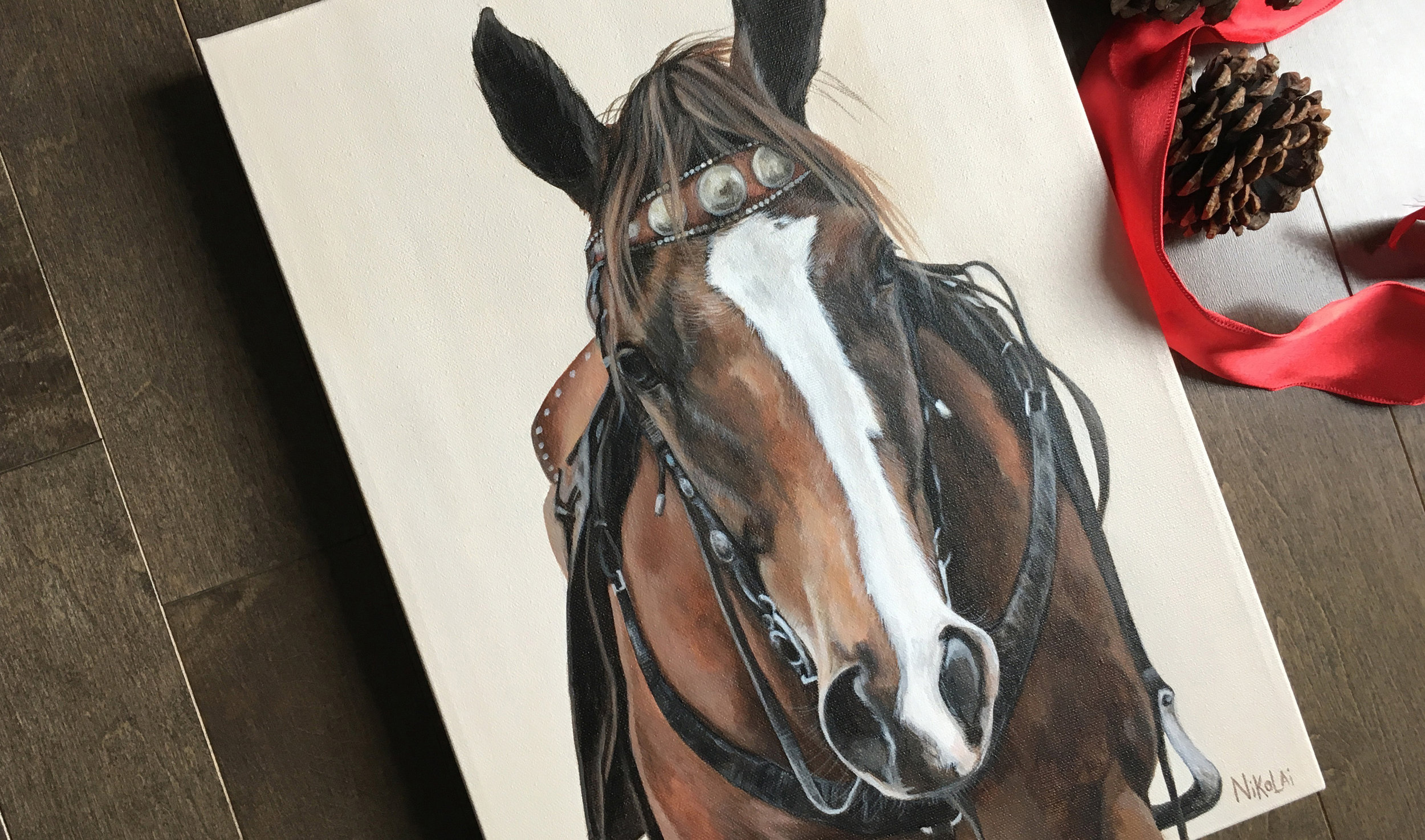 Springsteen (Quarter Horse) portrait painting