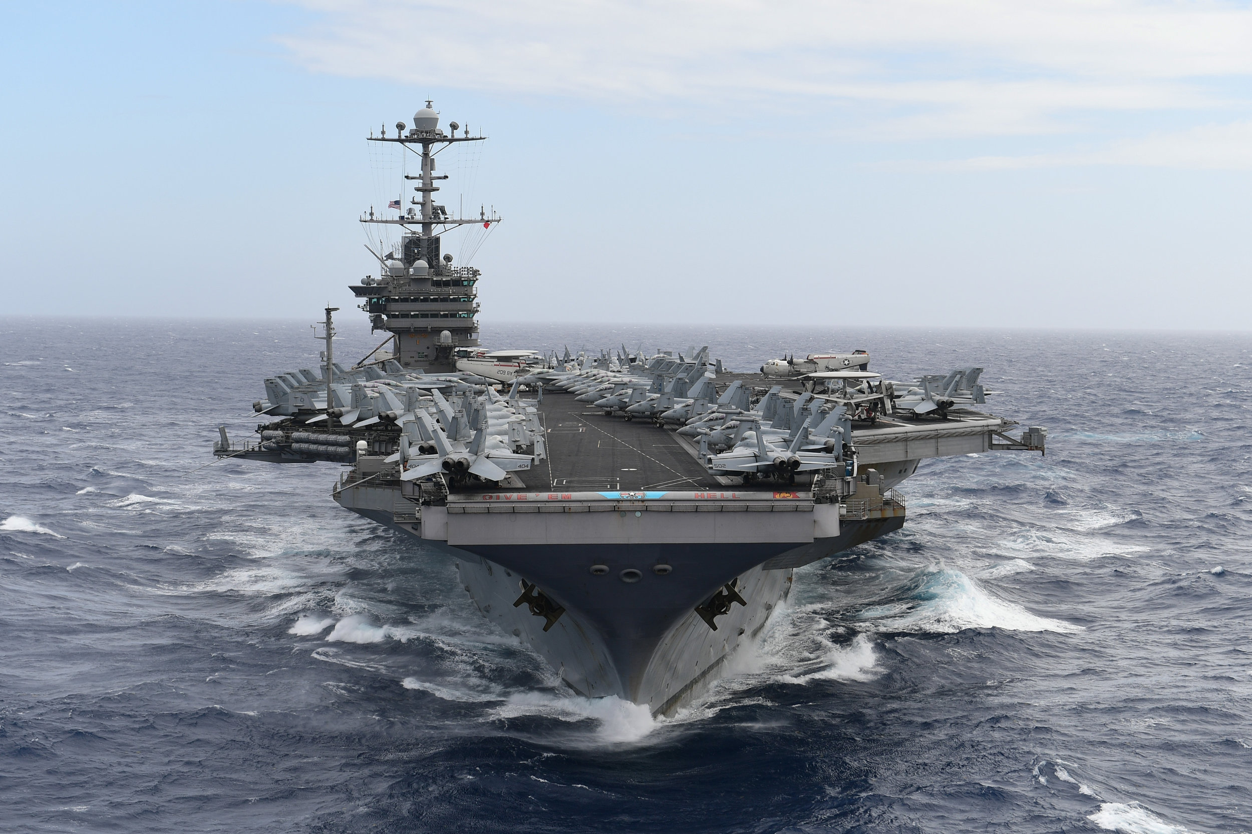 The Nimitz-class aircraft carrier USS Harry S. Truman (CVN 75) transits the Atlantic Ocean, Dec. 12, 2018.jpg