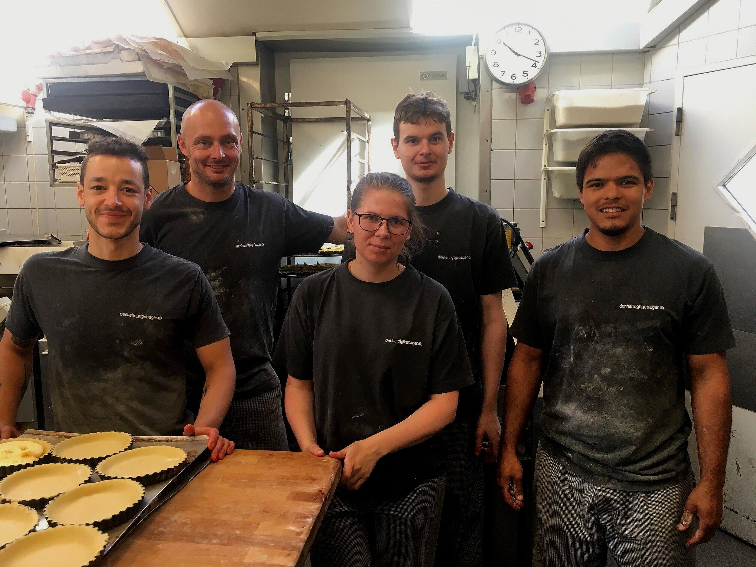 Danny far left with the bakery team at Den Helt Rigtige Bager