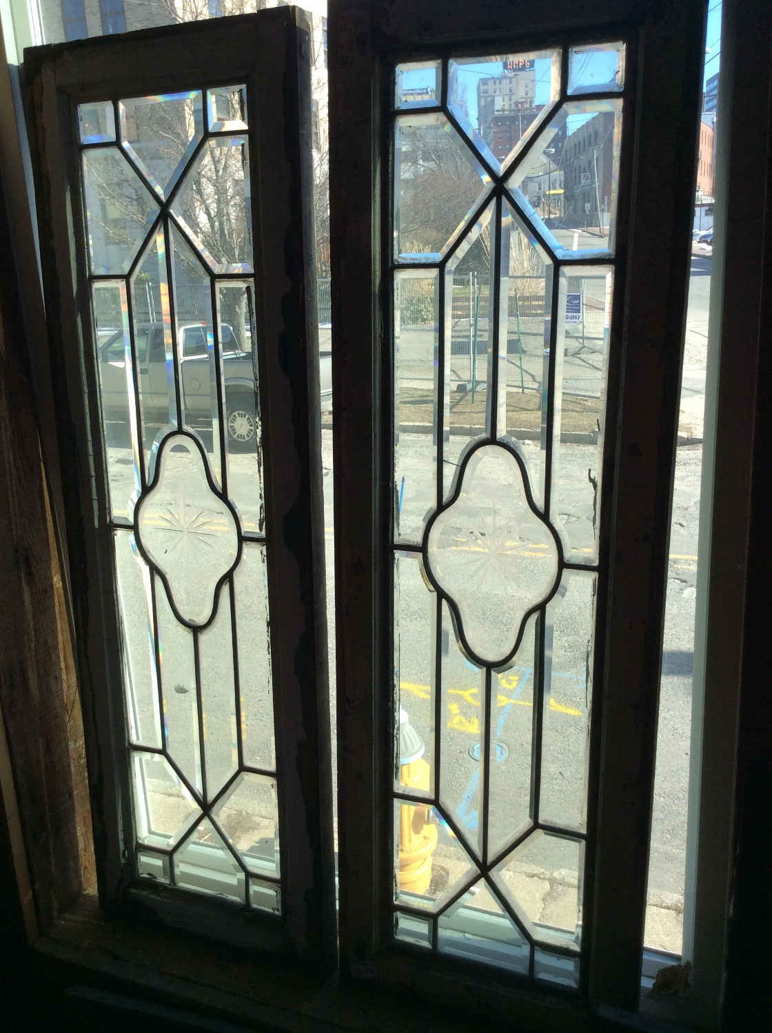 Pair Leaded and Beveled Glass Sidelights or Transoms