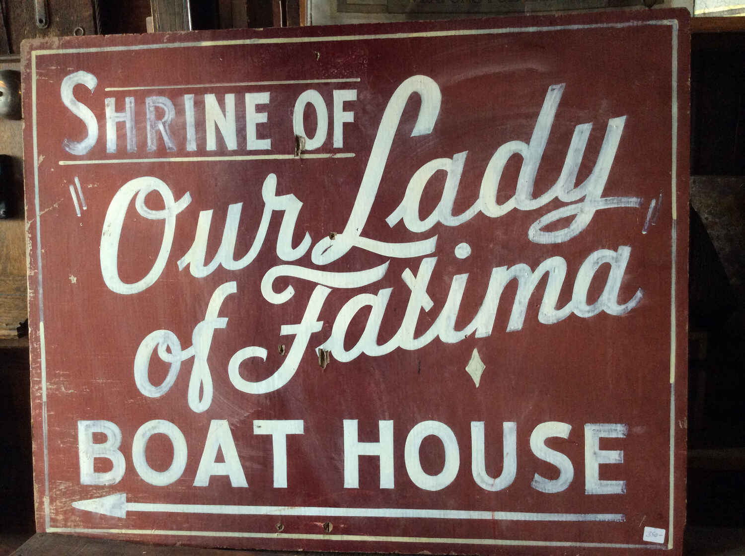 """Vintage Sign """"Shrine of Our Lady of Fatima"""""""