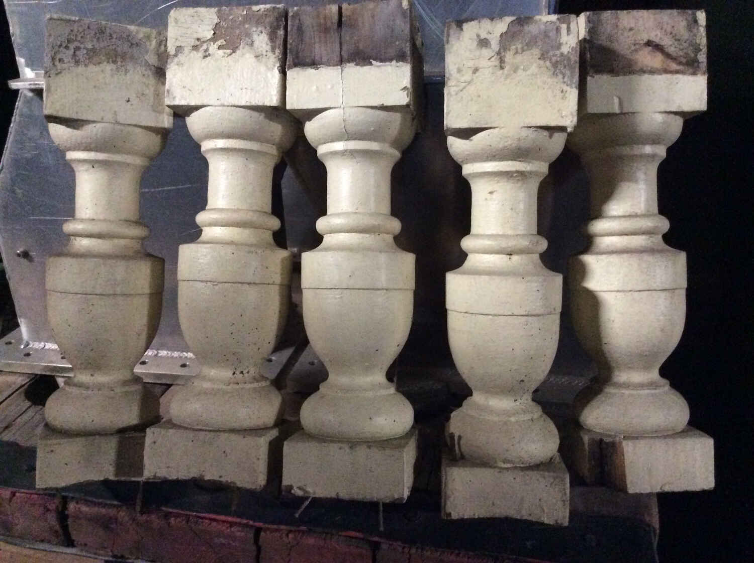 Antique Urn-Shaped Painted Balusters