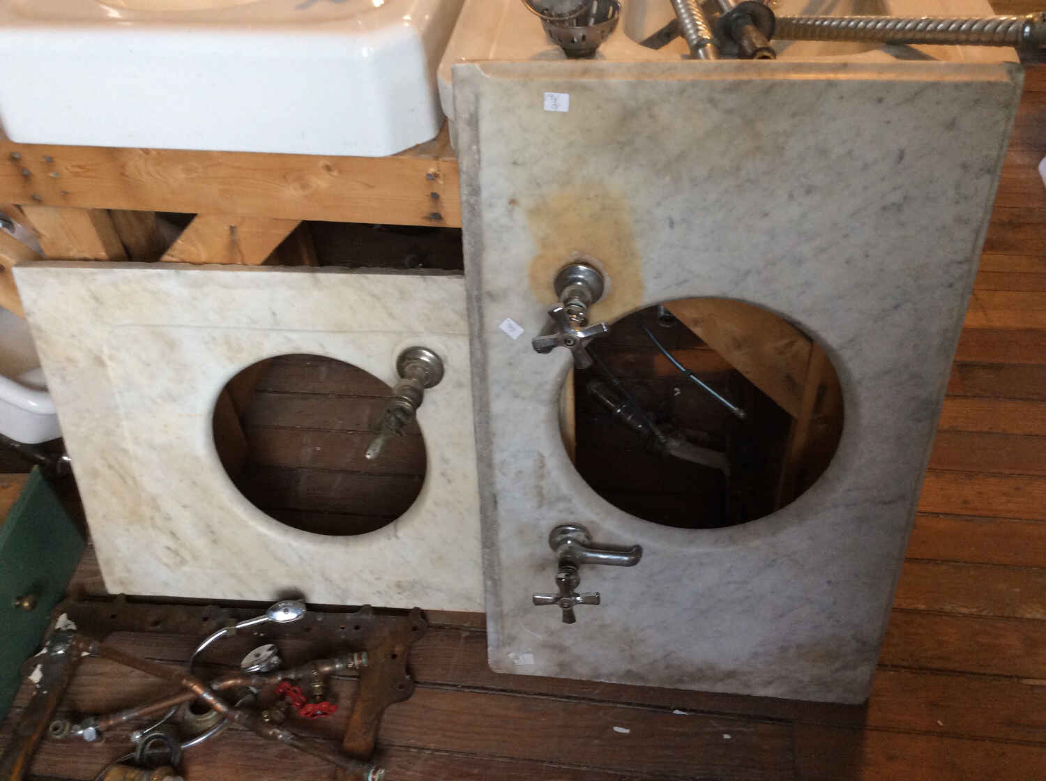 Antique Carrera Marble Sink Decks w/Round Opening and Faucets