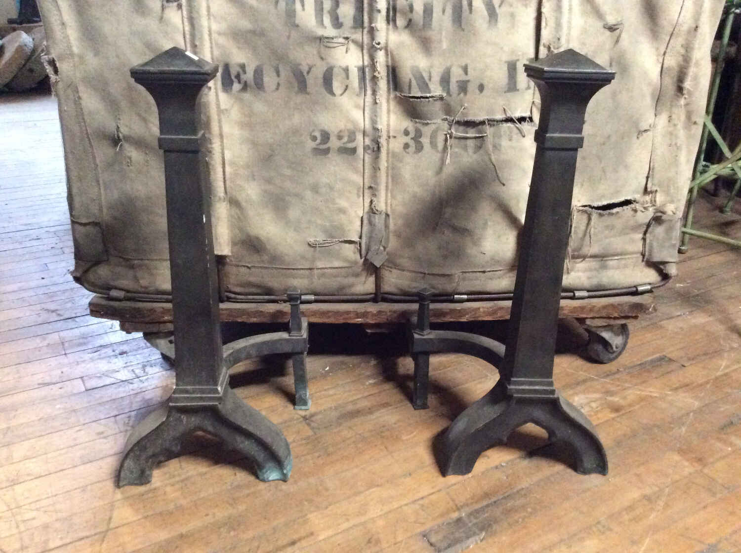 Pr. Antique Bronze Andirons
