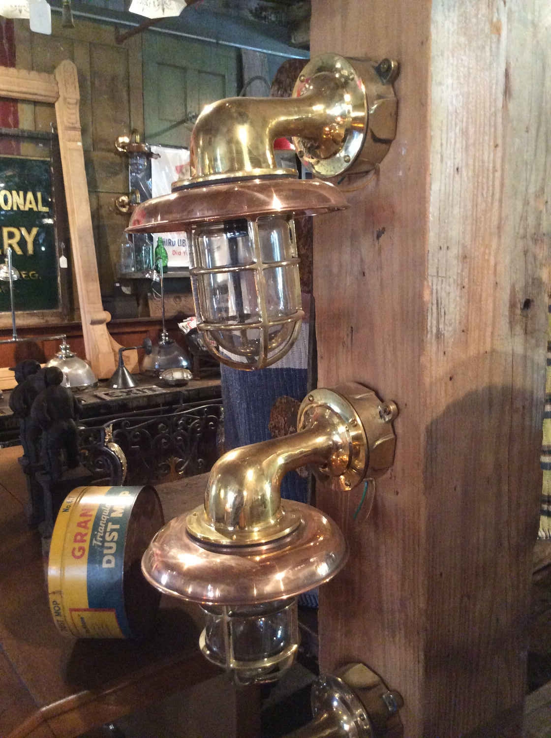 Solid Brass Nautical Wall Sconce with Copper Shade