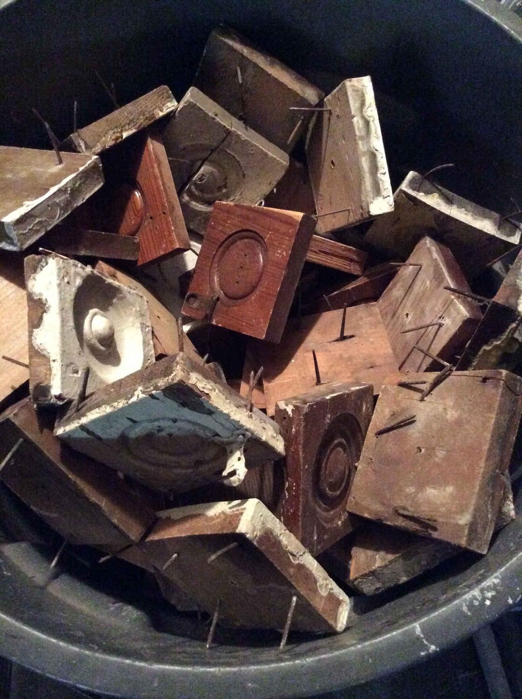 """Antique """"Bullseye"""" Corner Blocks"""