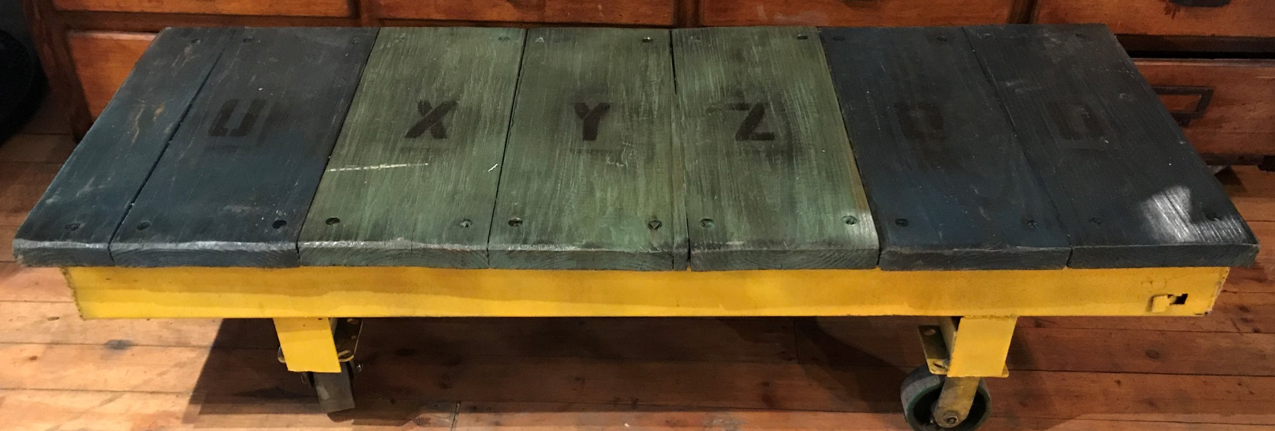 SOLD! Reclaimed Factory Cart Coffee Table