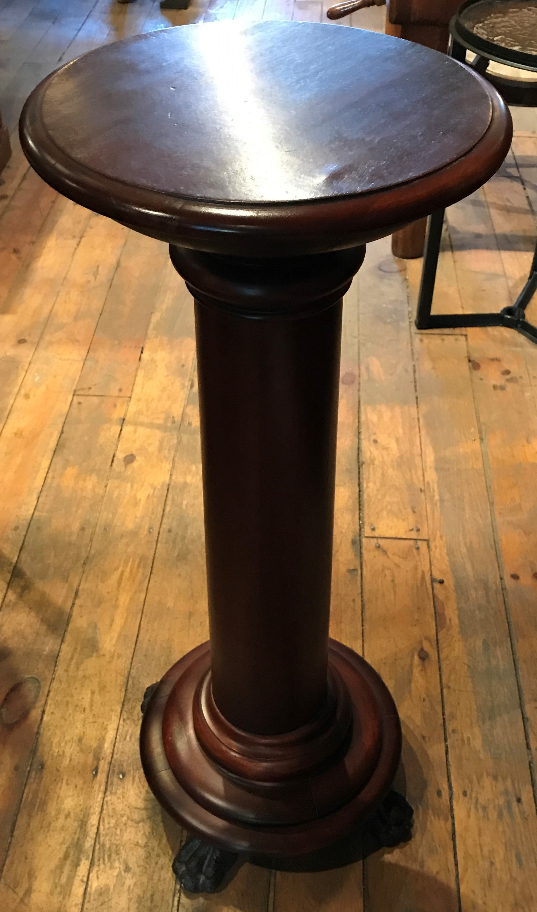 Antique Mahogany Pedestal With Claw Feet