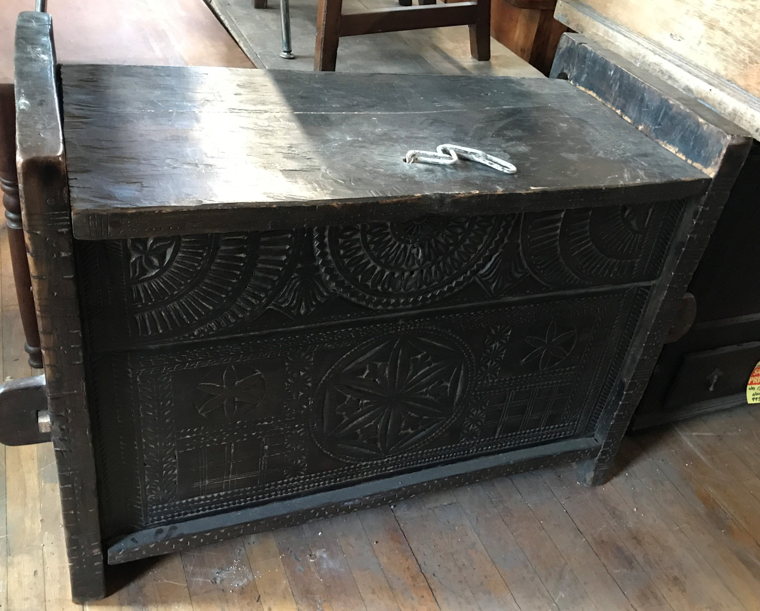 Heavy Hand Carved Lift Top Dowry Chest