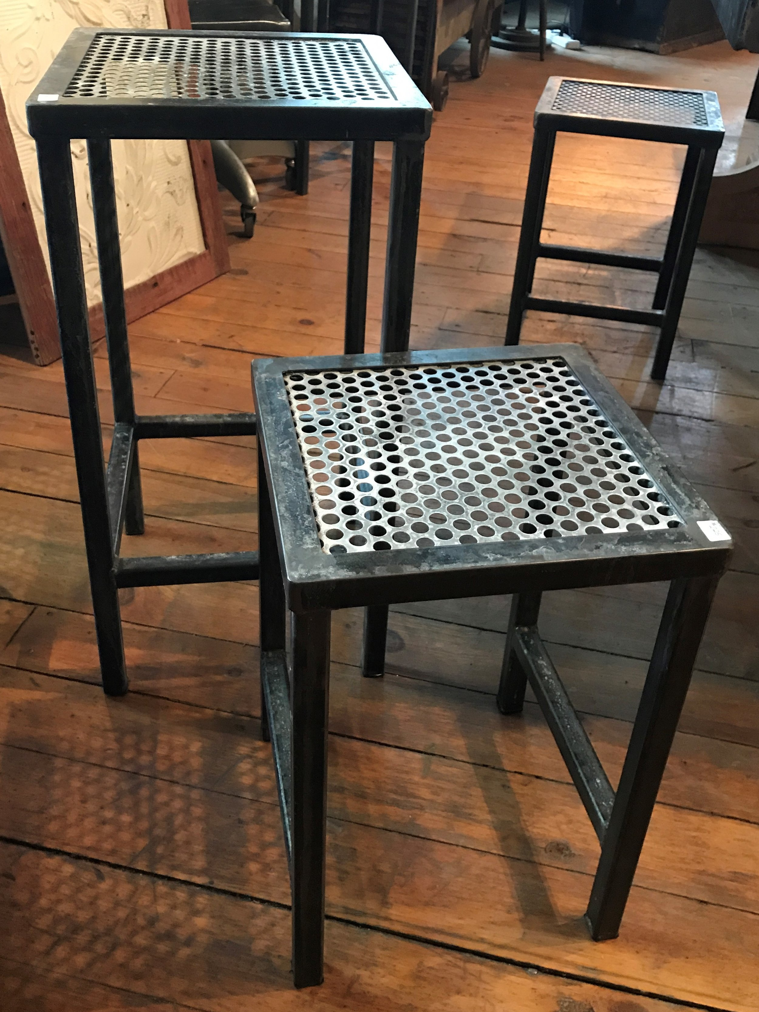 Perforated Top Stools or Side Tables