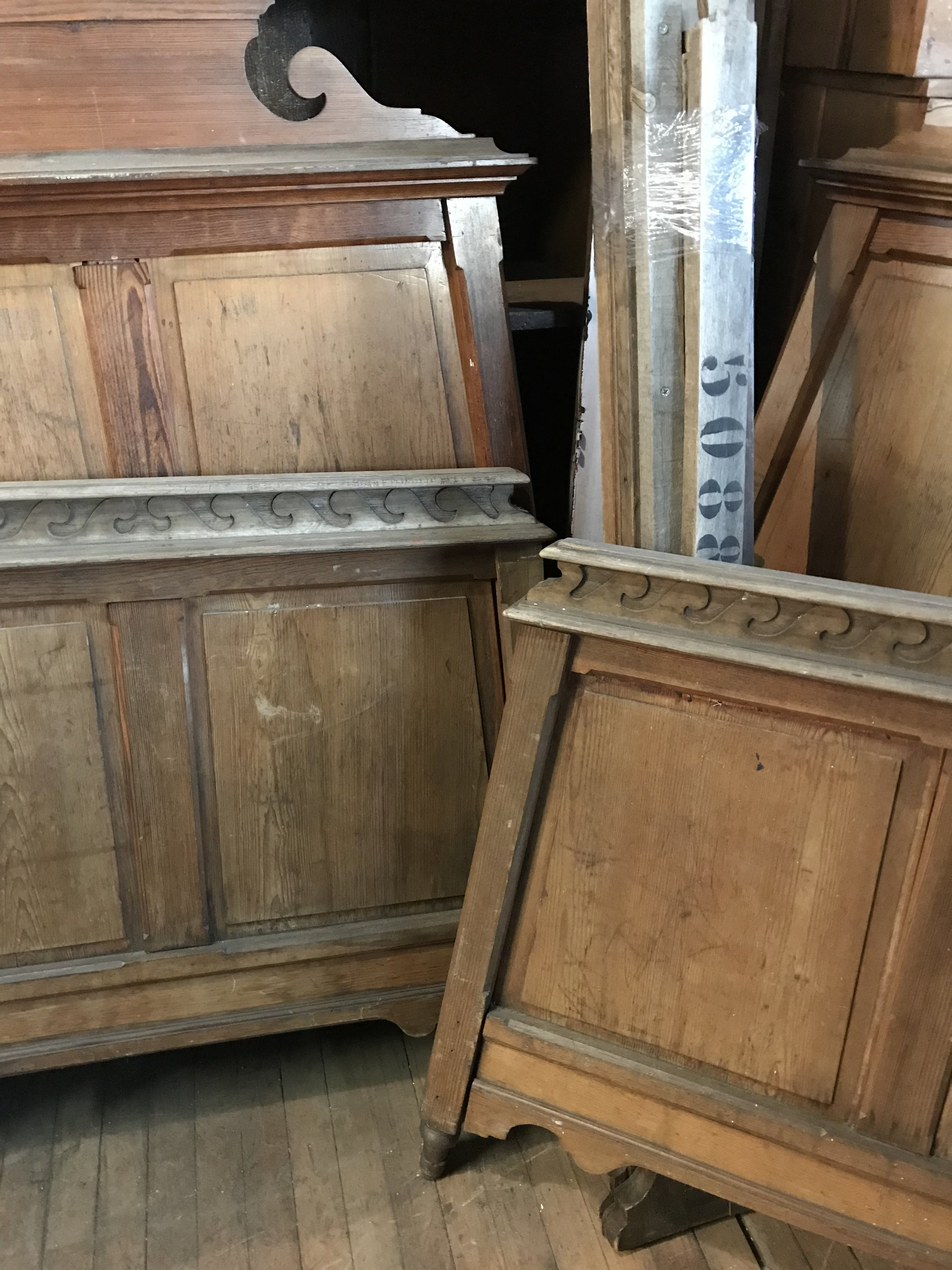 Pair of Antique French Pine Twin Beds
