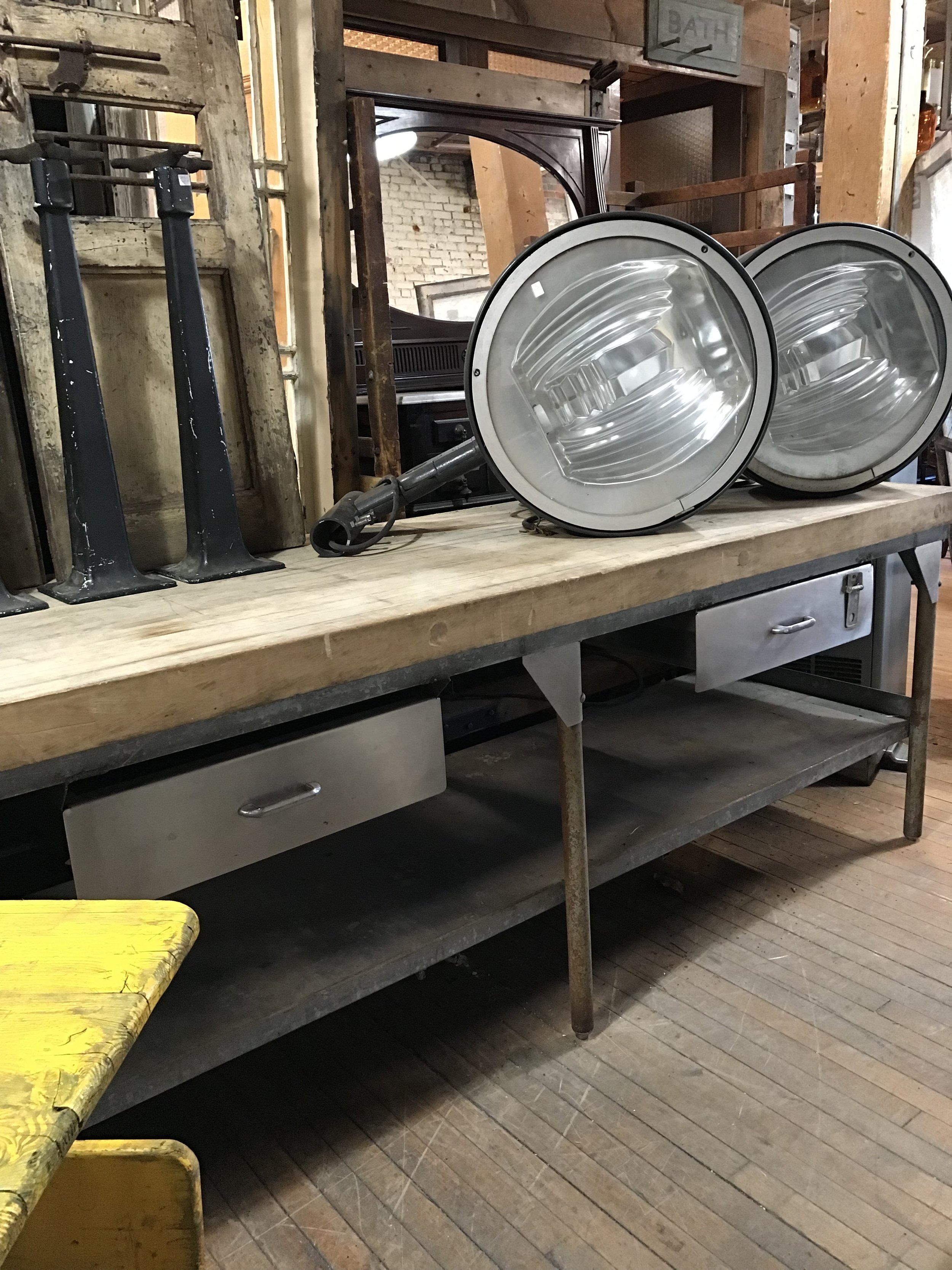 Vintage Stainless Steel and Maple Butcher block Bakers Table