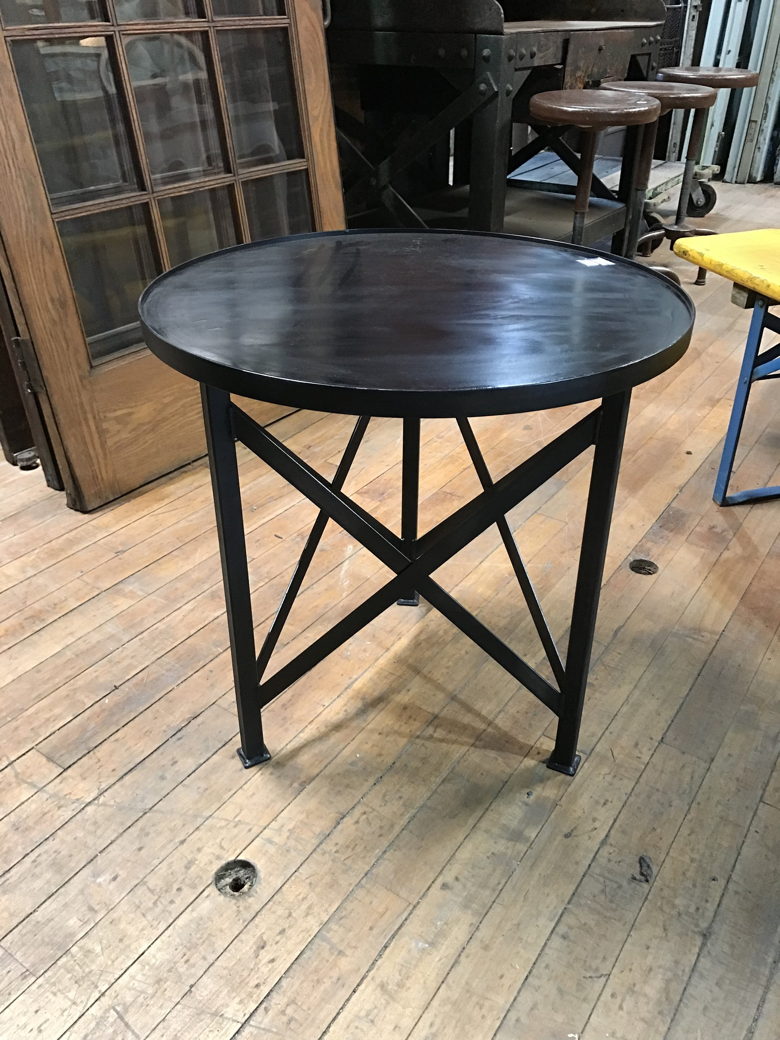 "Custom made Steel ""X"" base side tables"