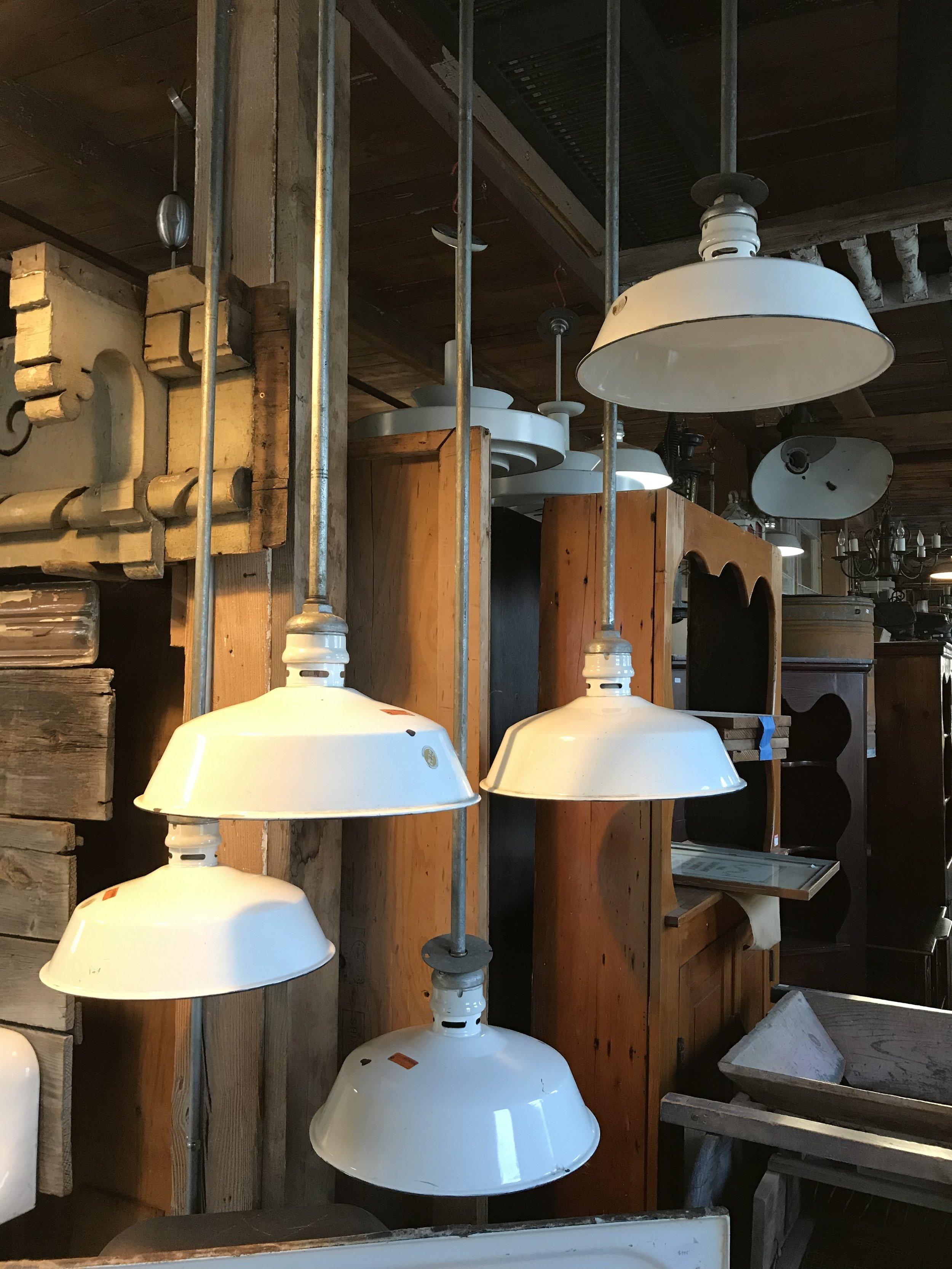 Vintage Porcelain Enameled Industrial Lights