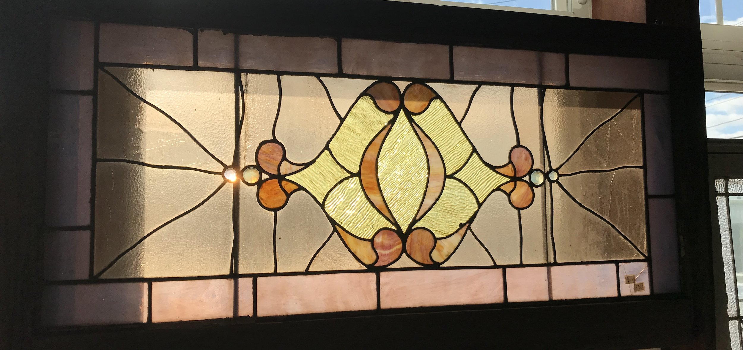 Antique Belgian Stained Glass Transom