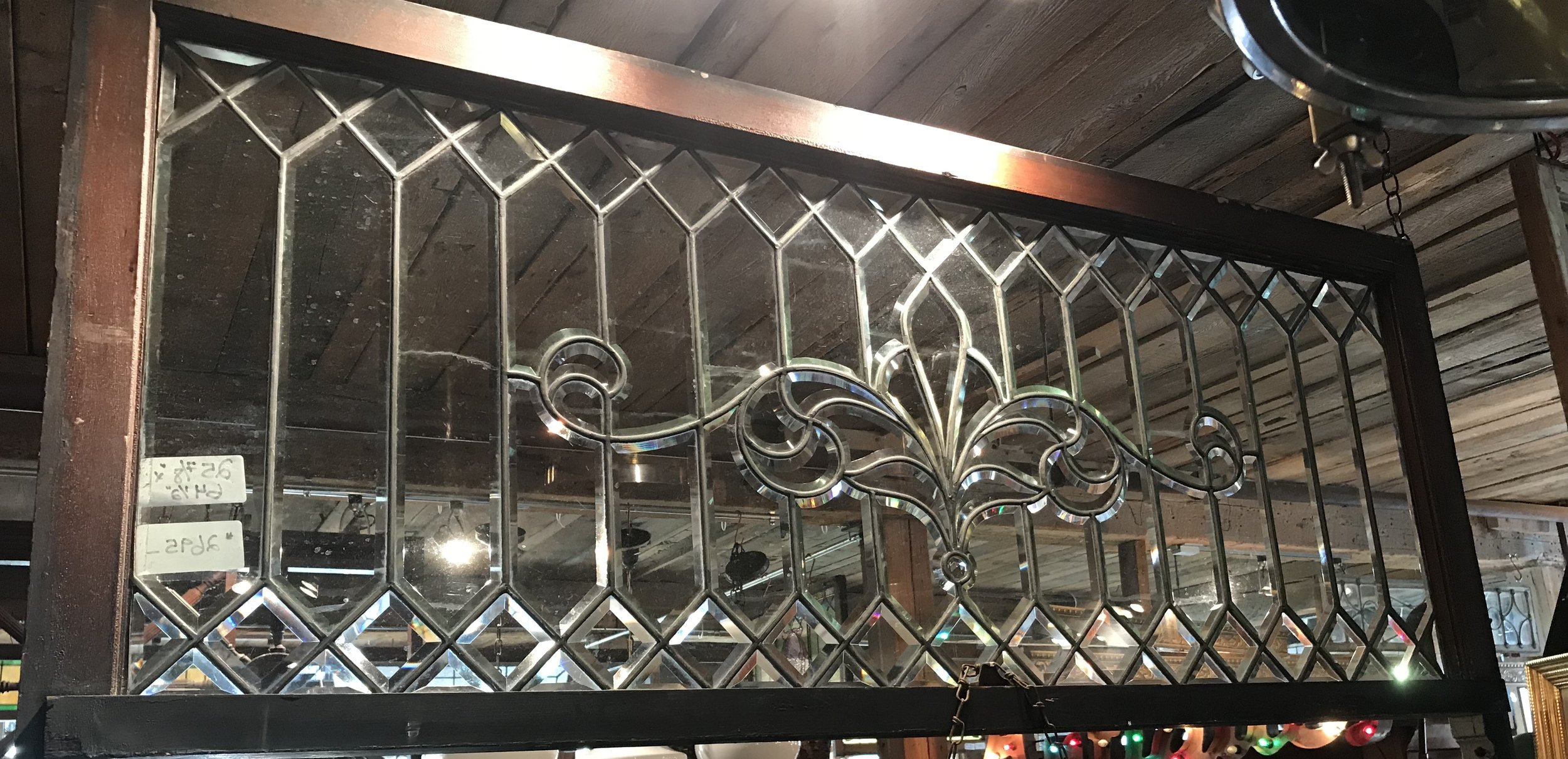 Stunning beveled and leaded glass transom window