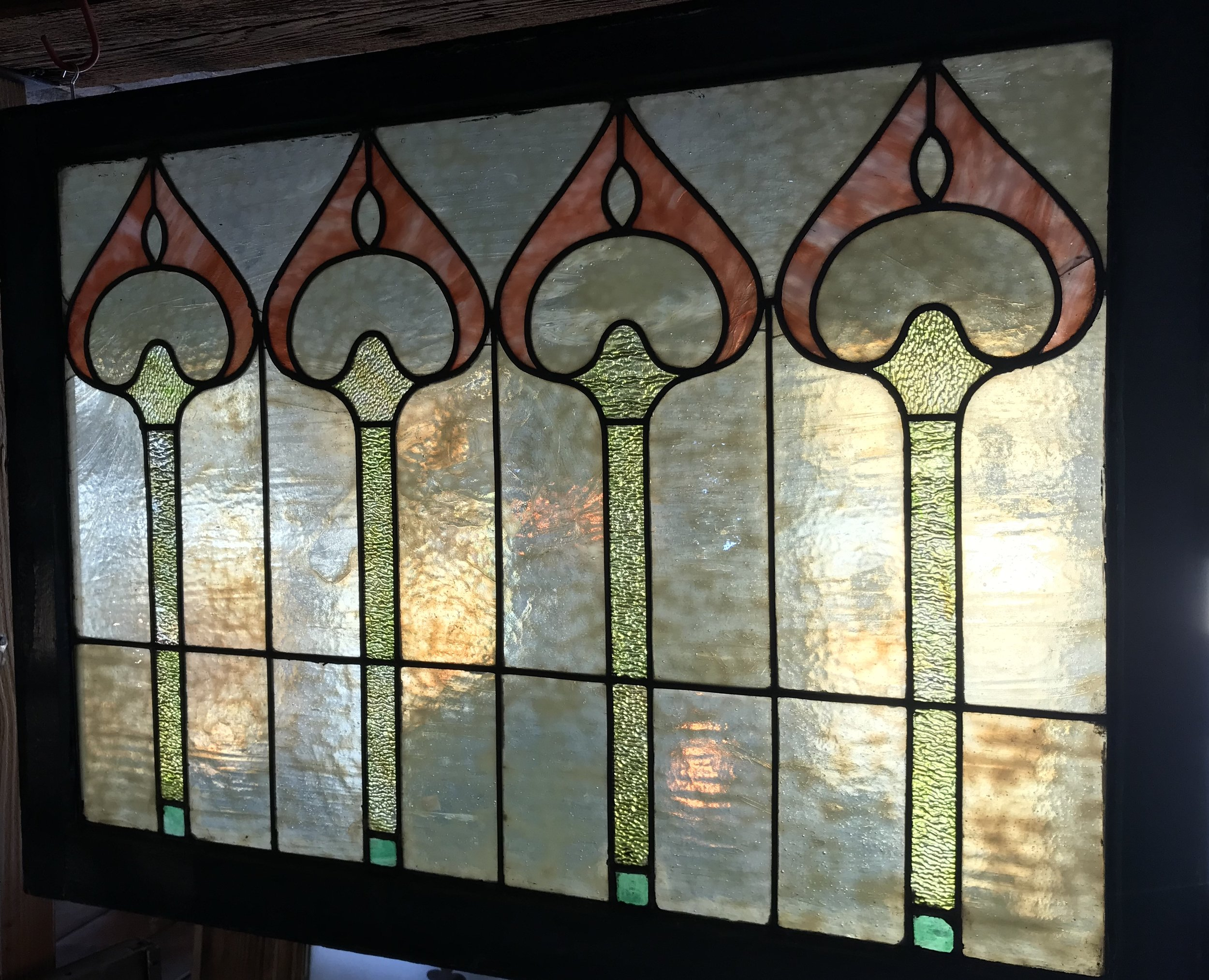 Antique Chicago style slag glass window