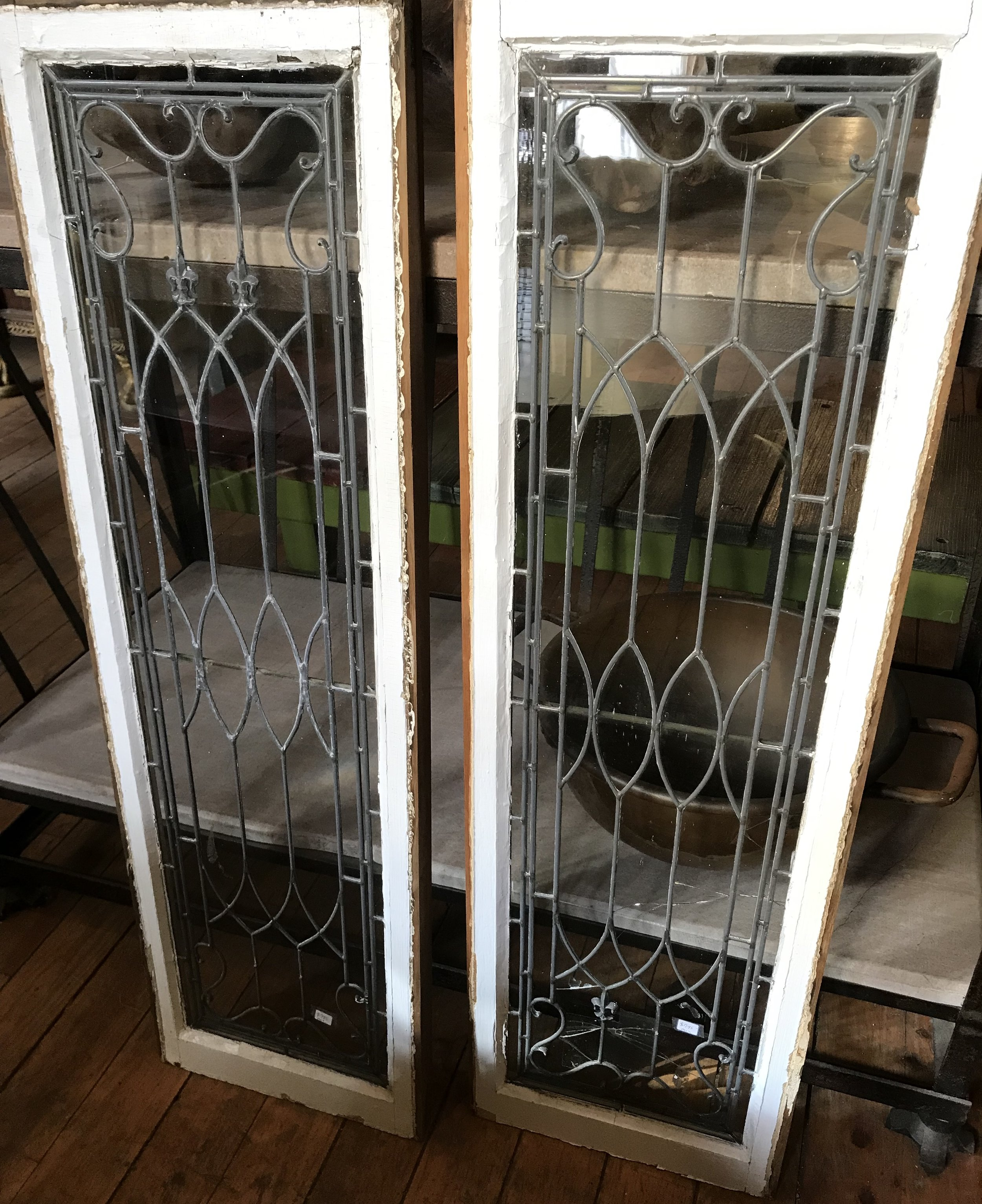 Pair antique leaded glass sidelights