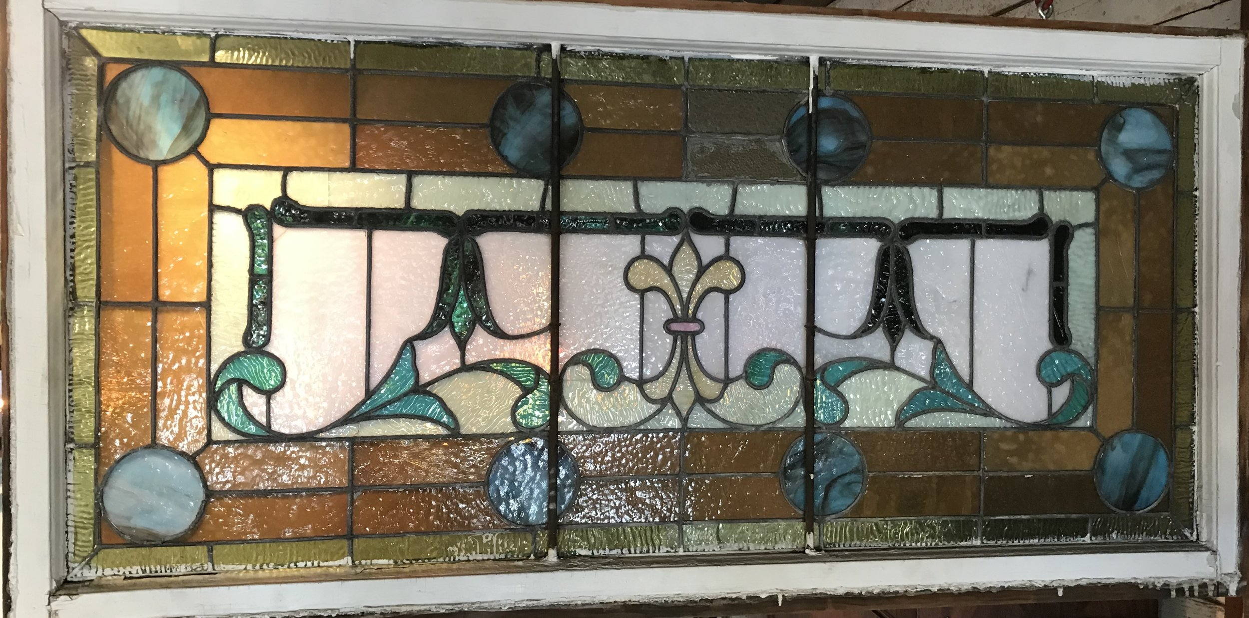 Antique Stained glass transom