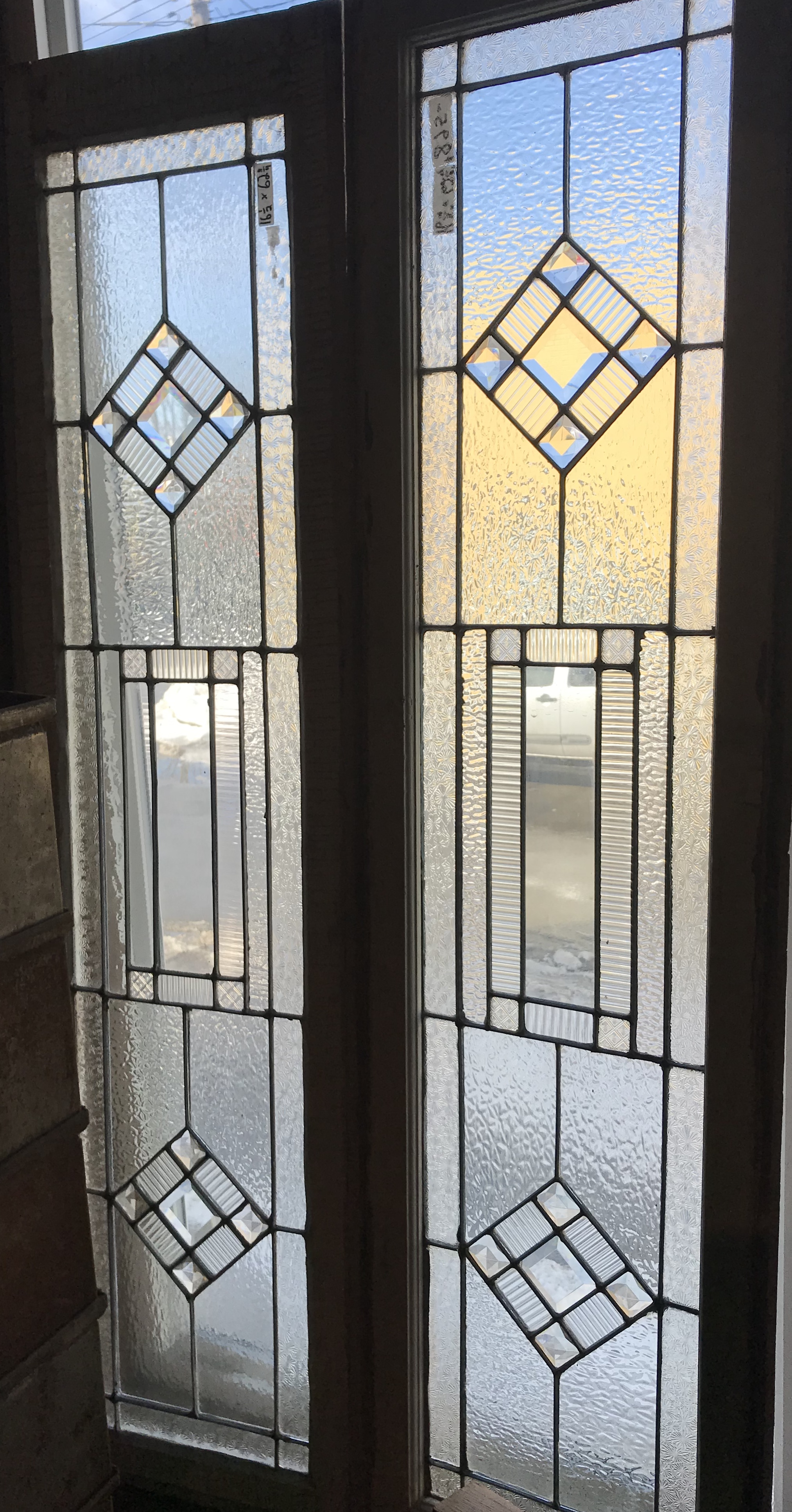 Matched Pair of privacy glass sidelights