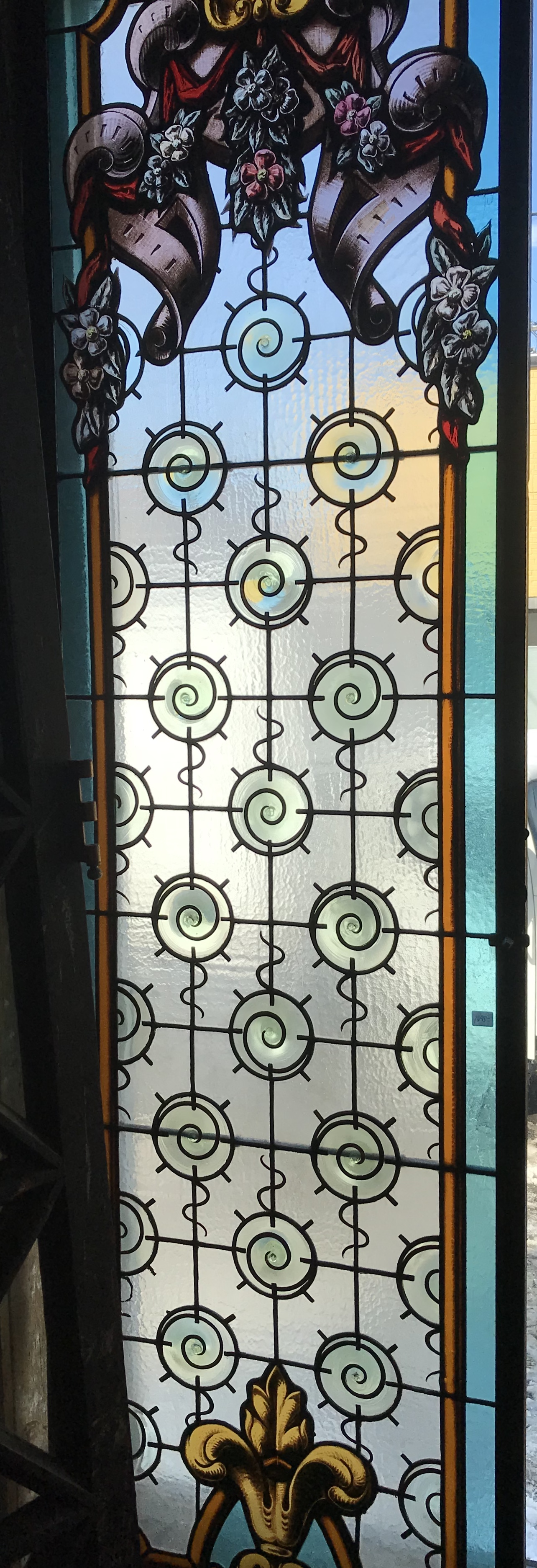 Stained and Hand Painted Glass cabinet doors