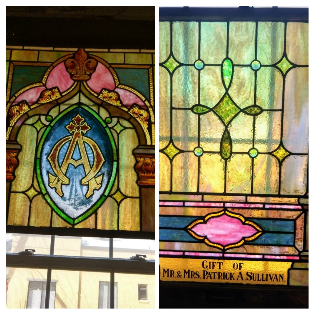 Antique stained glass Alpha & Omega window set